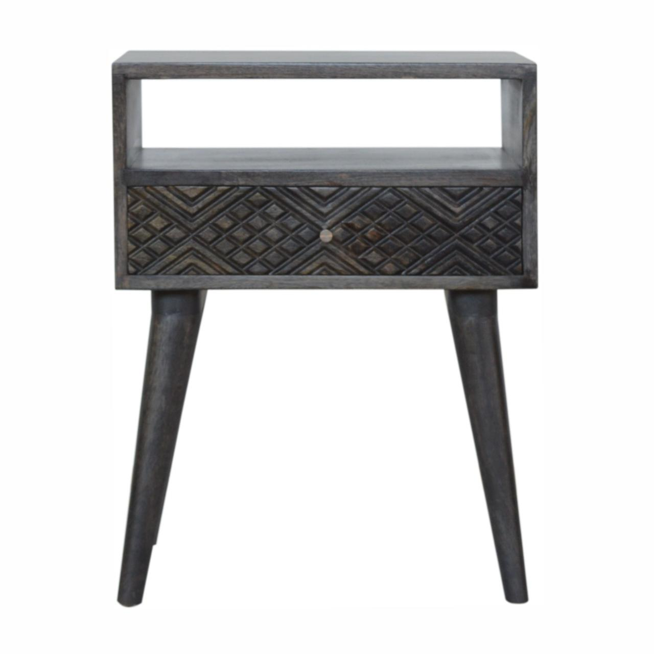 Ash Black Carved Drawer Bedside
