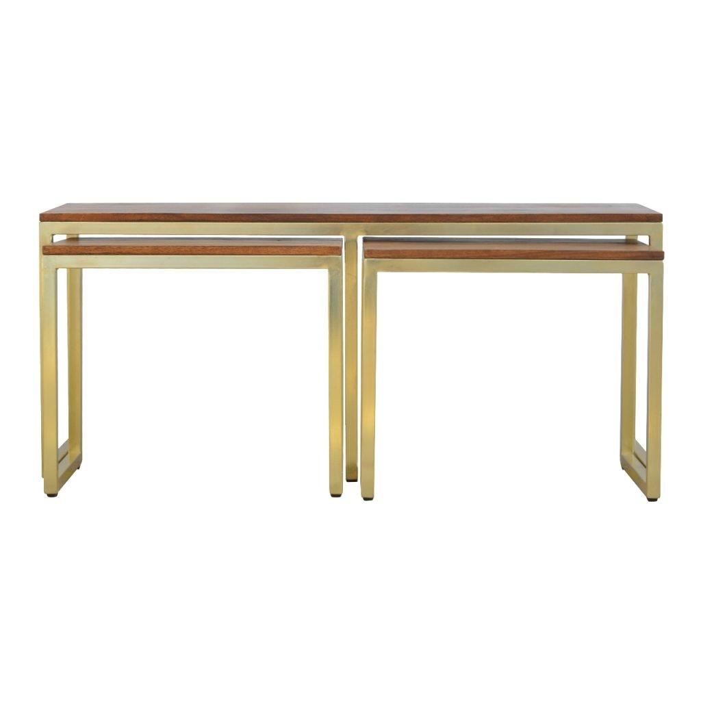Solid Wood & Iron Gold Base Table Set of 3