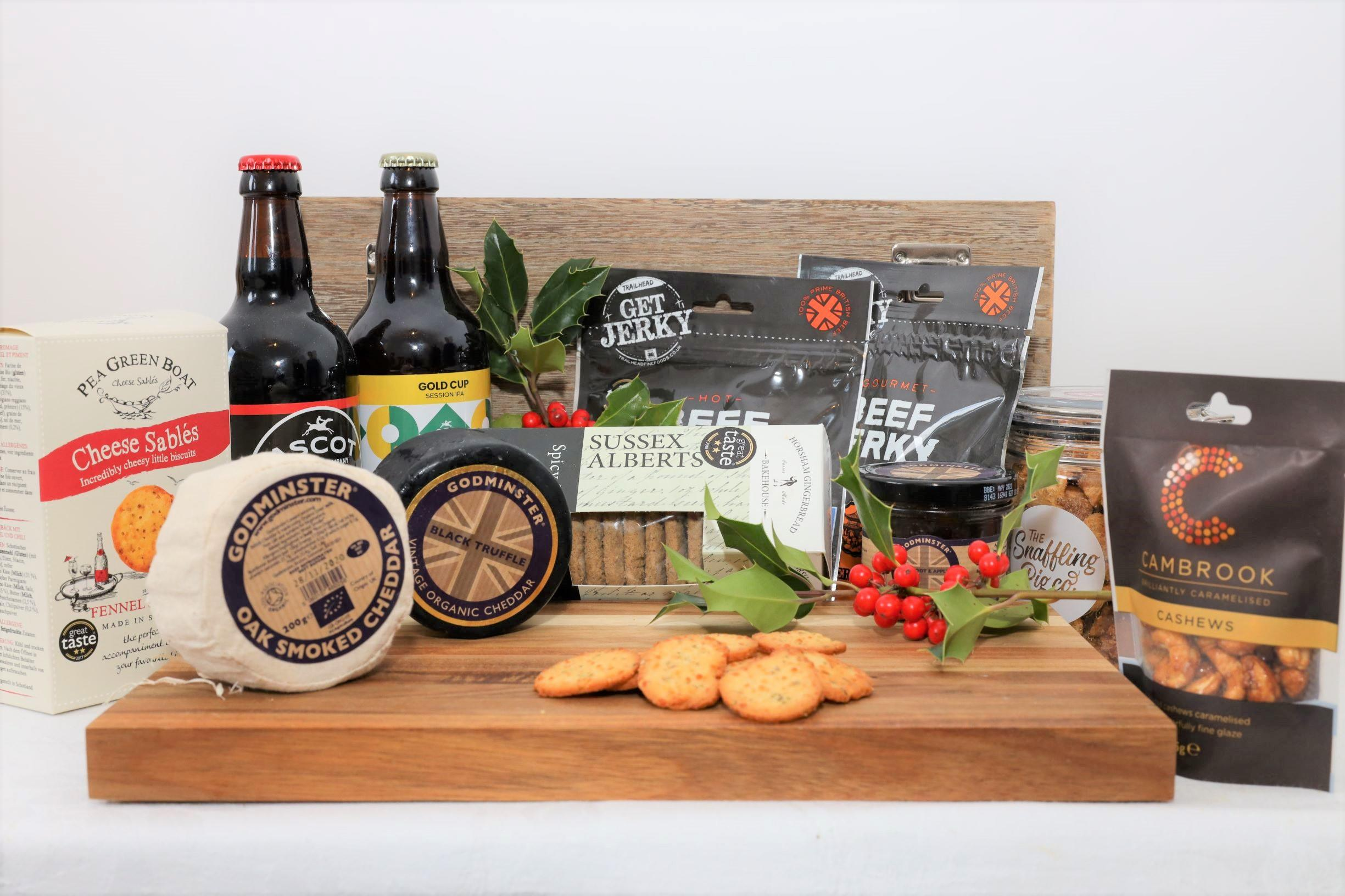 Hamper containing English Craft Beers and English Artisan Cheese