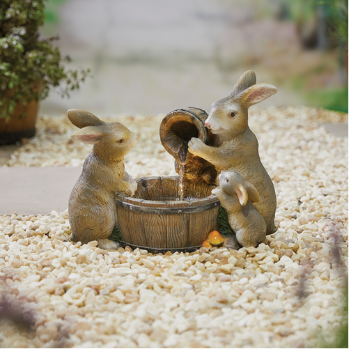 Playful bunnies indoor fountain