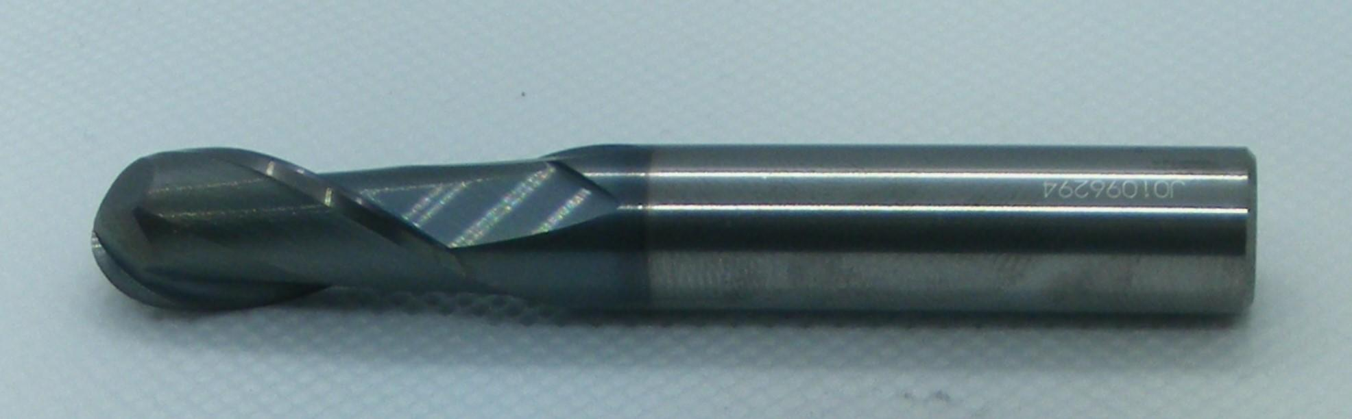 10mm Carbide Endmill 2 Flute Ballnose Long TiAlN