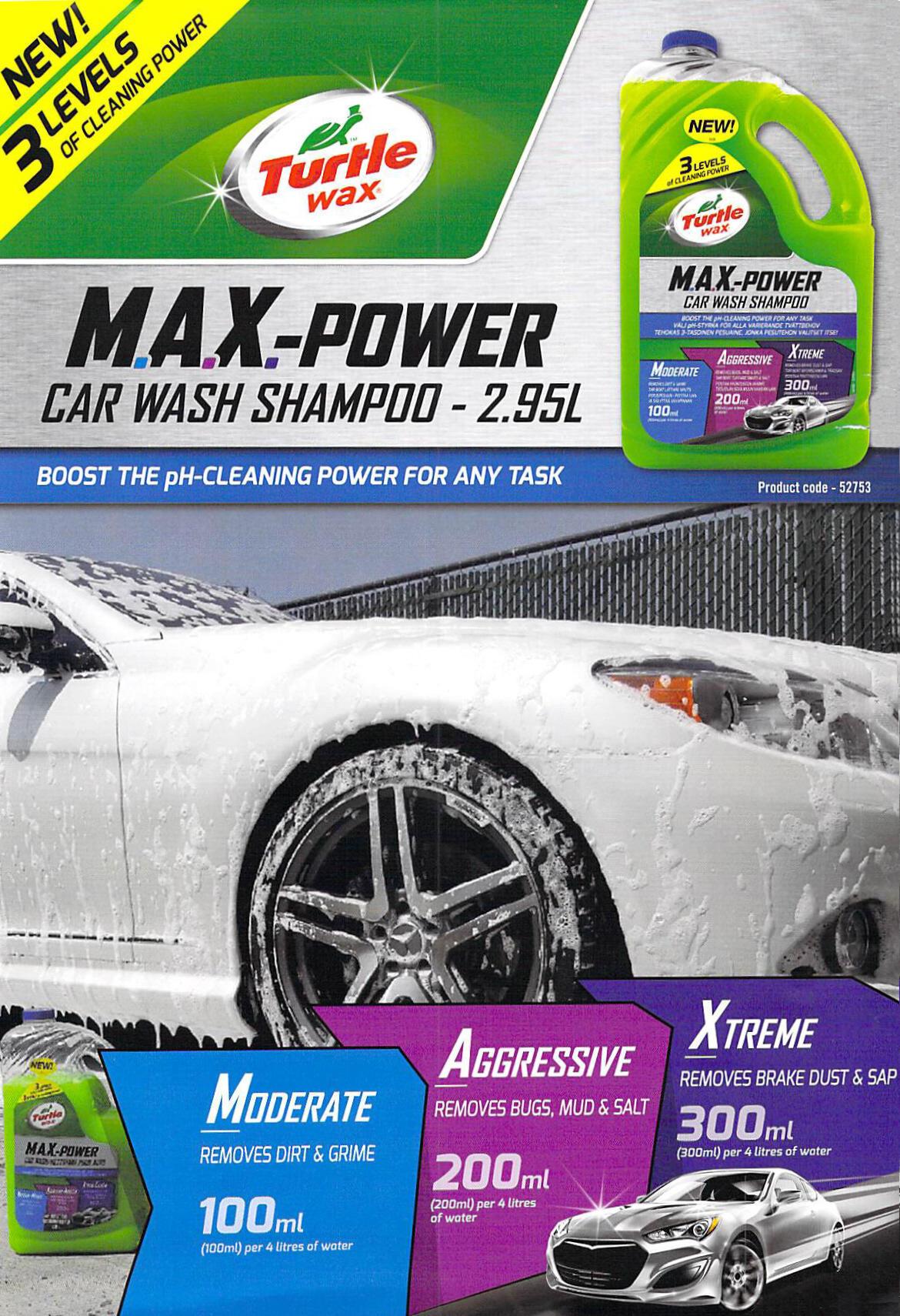 M A X Power Car Wash Shampoo Turtle Wax 2 95l