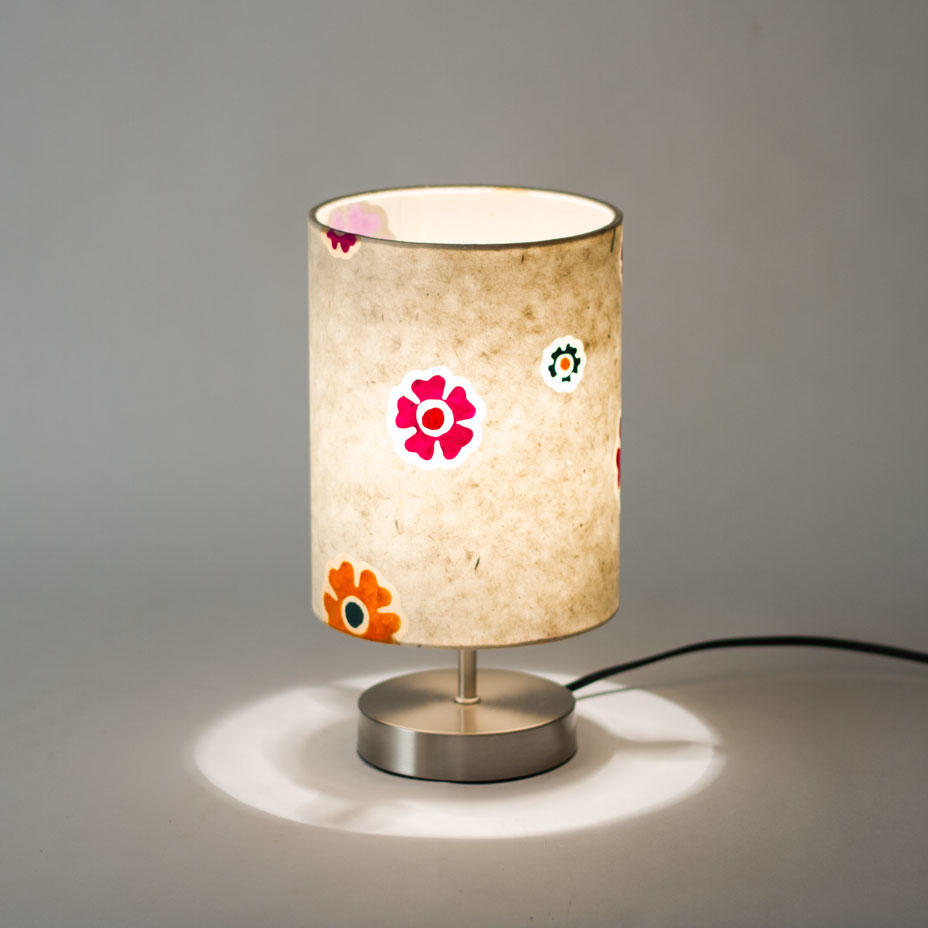 Table lamp 15cmx20cm Batik Multi Flowers Lokta Lamp Shade