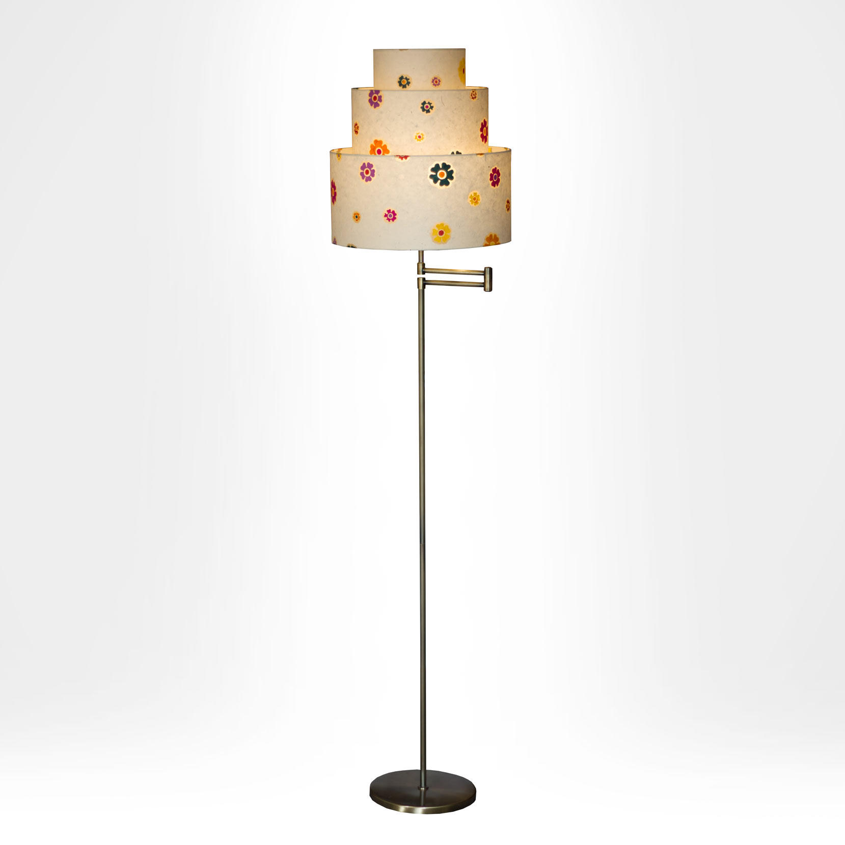 Handmade 3 tier lamp shade on double swing arm floor lamp for 3 tier floor lamp