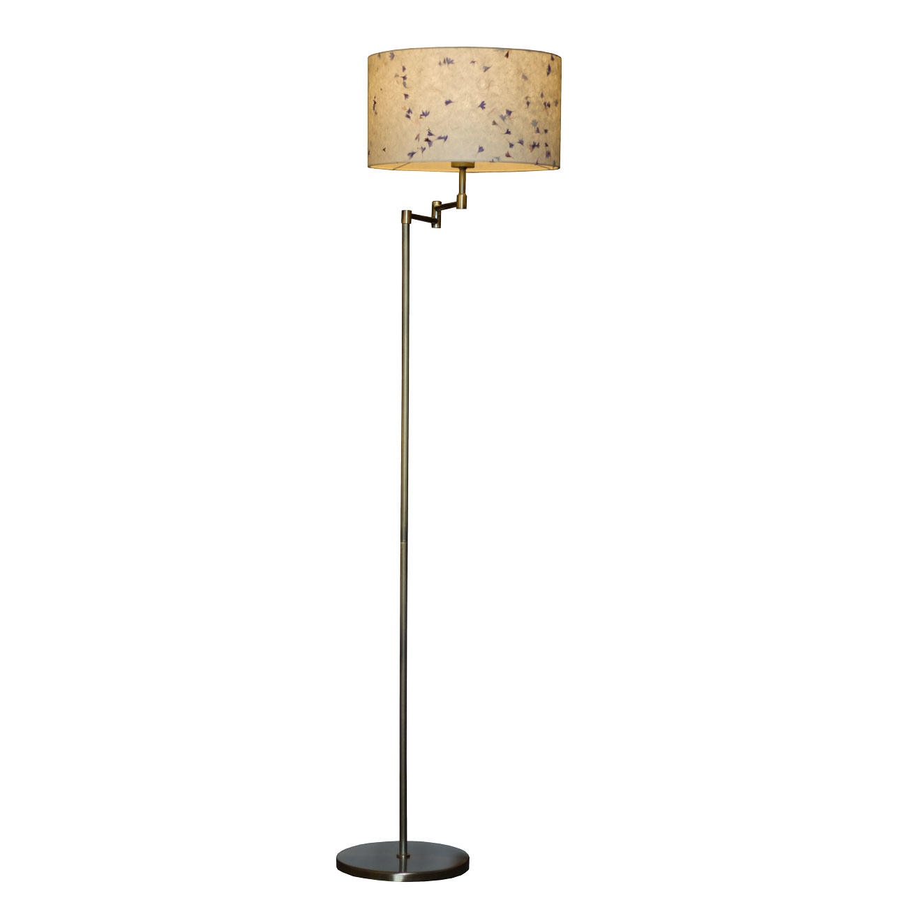 35cm x 20cm Drum Lamp Shade on Double Swing Arm Floor Lamp