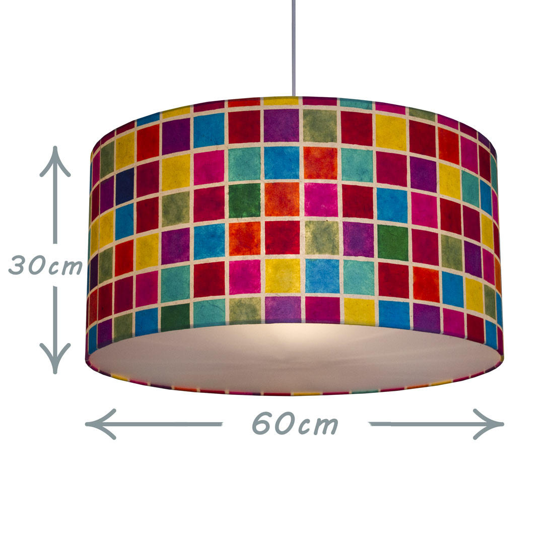Drum Lamp Shade Pendant 60cm with Diffuser in Batik Multi Squares