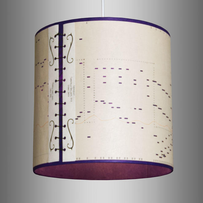 30cm x 30cm Drum Shade made using Pianola Music Rolls Purple front lit