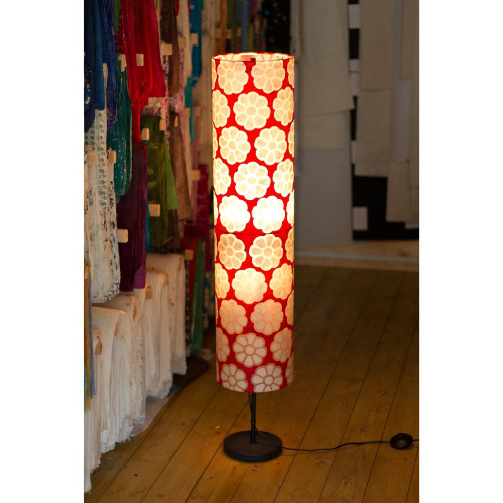 Floor Lamp Cylinder Batik Big Flower on Red