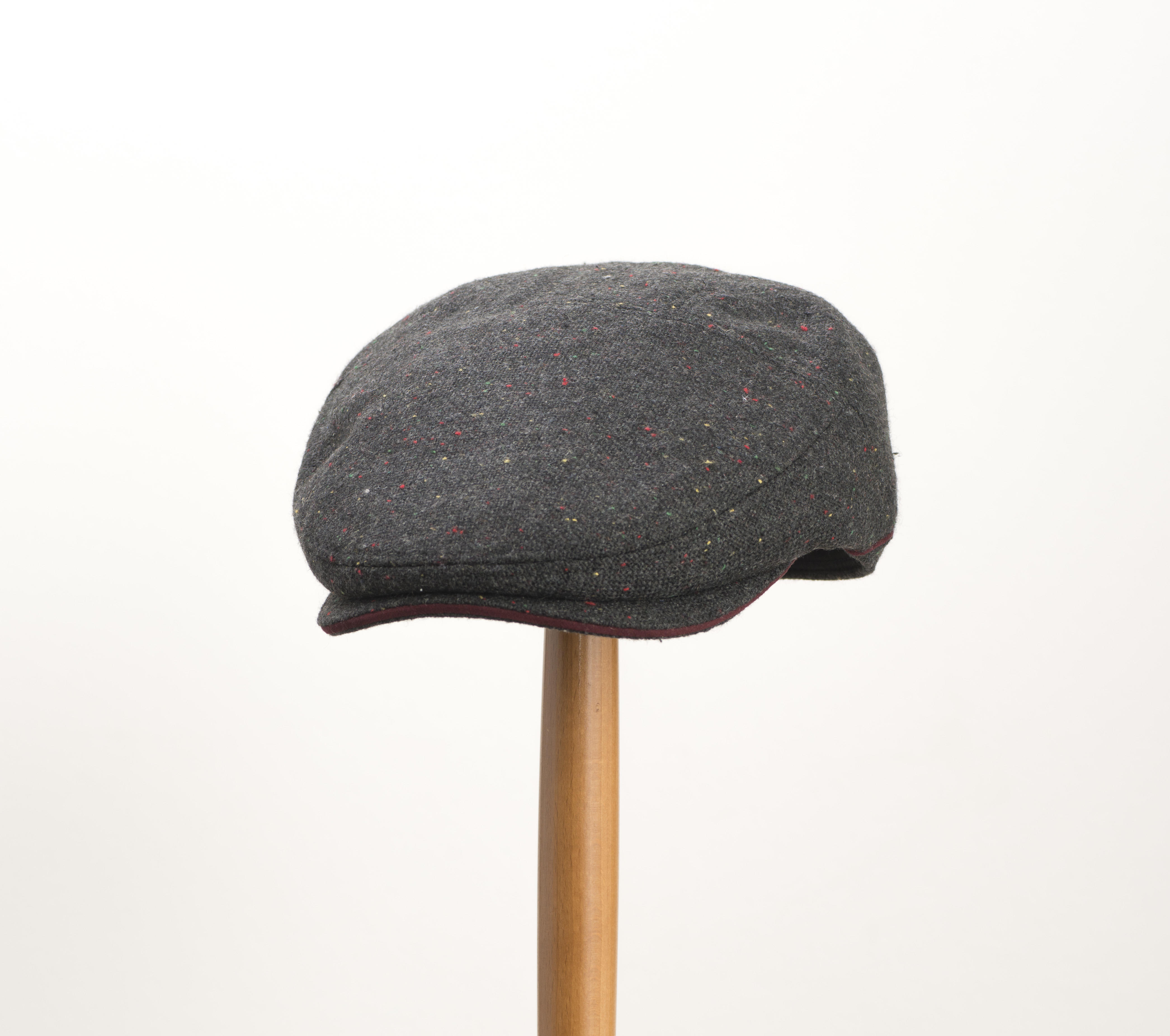 Whiteley Galactic Tweed Tourer Flat Cap Burgundy