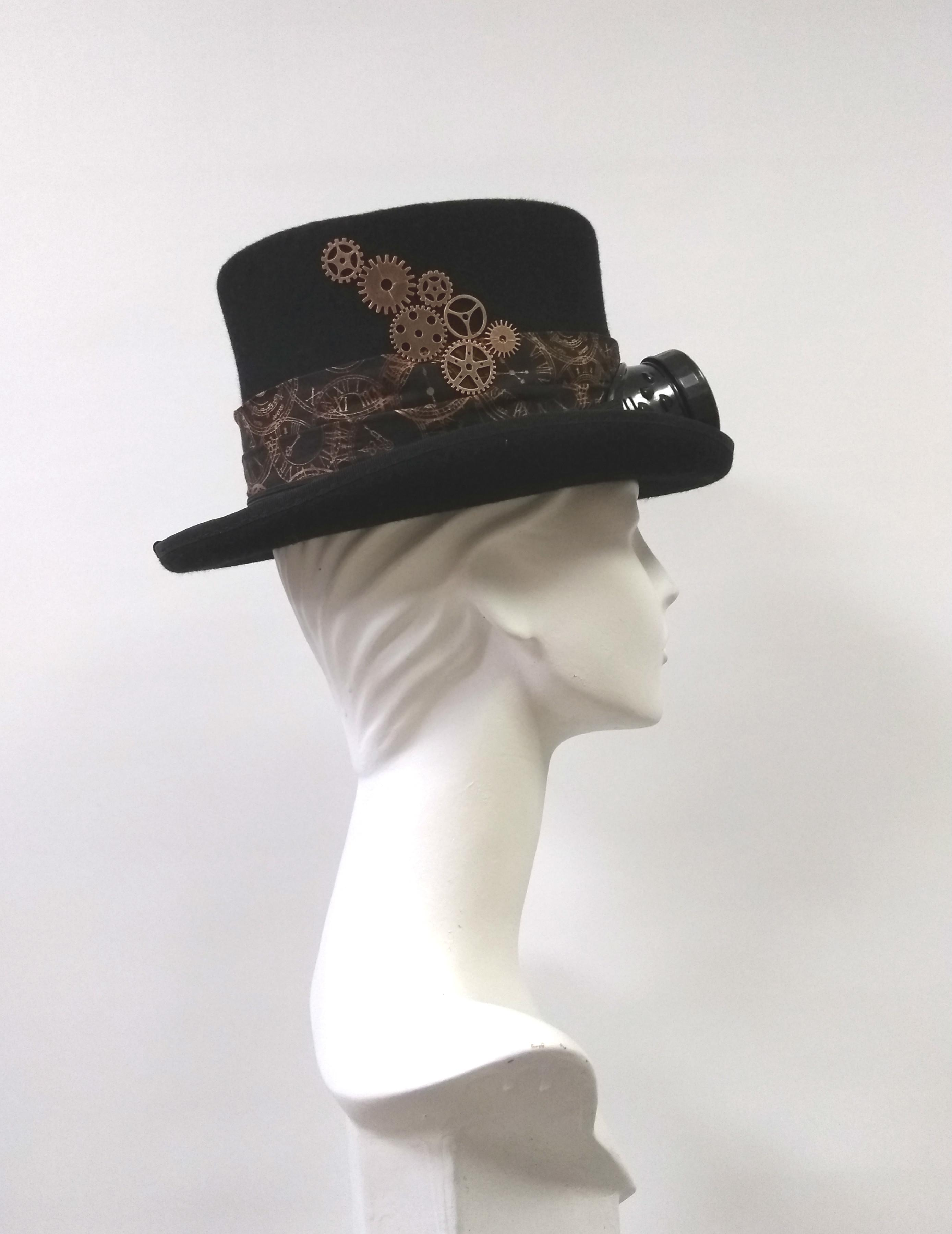 Steampunk Black and Bronze Dressed Top Hat