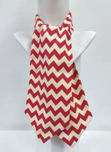 Handmade Ascot Cravat, Red and Cream Zig Zag