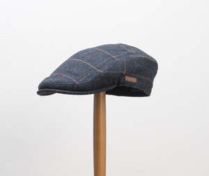 Major Blue Herringbone Check Flat Cap