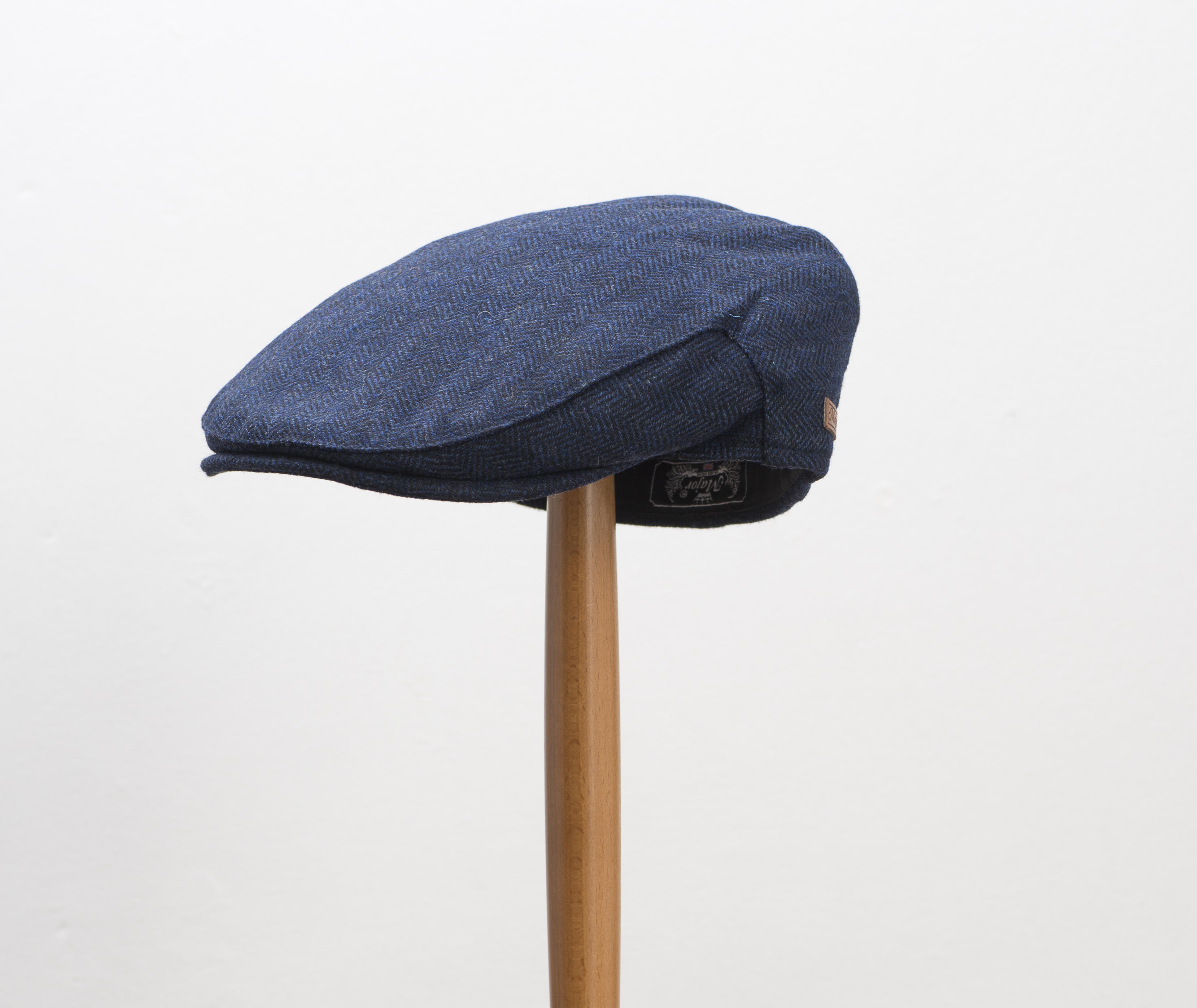 Major Navy Blue Herringbone Flat Cap