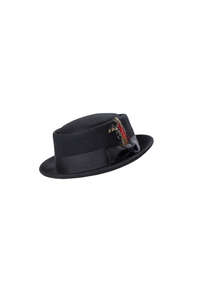 Wool Felt Pork Pie Hat Black