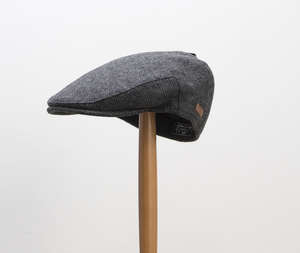 Major Dark Grey Herringbone Flat Cap