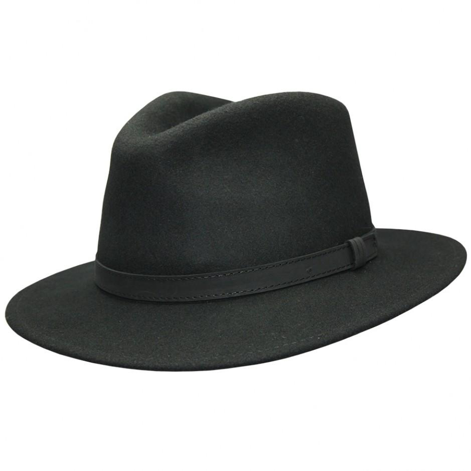 Wool Felt Fedora, Leather band - Black
