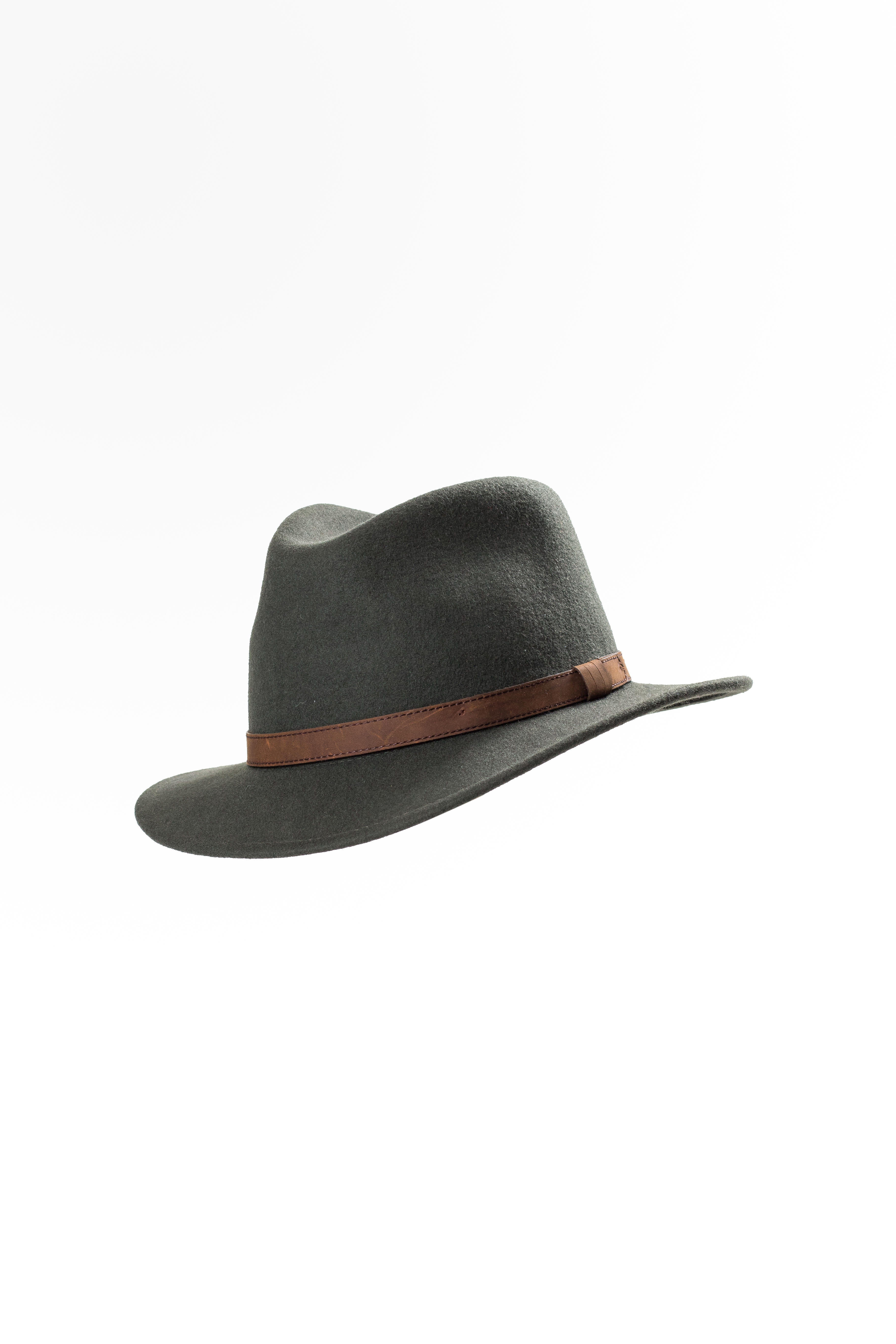 Wool Felt Fedora, Leather band - Dark Green