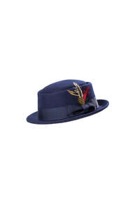 Wool Felt Pork Pie Hat Navy