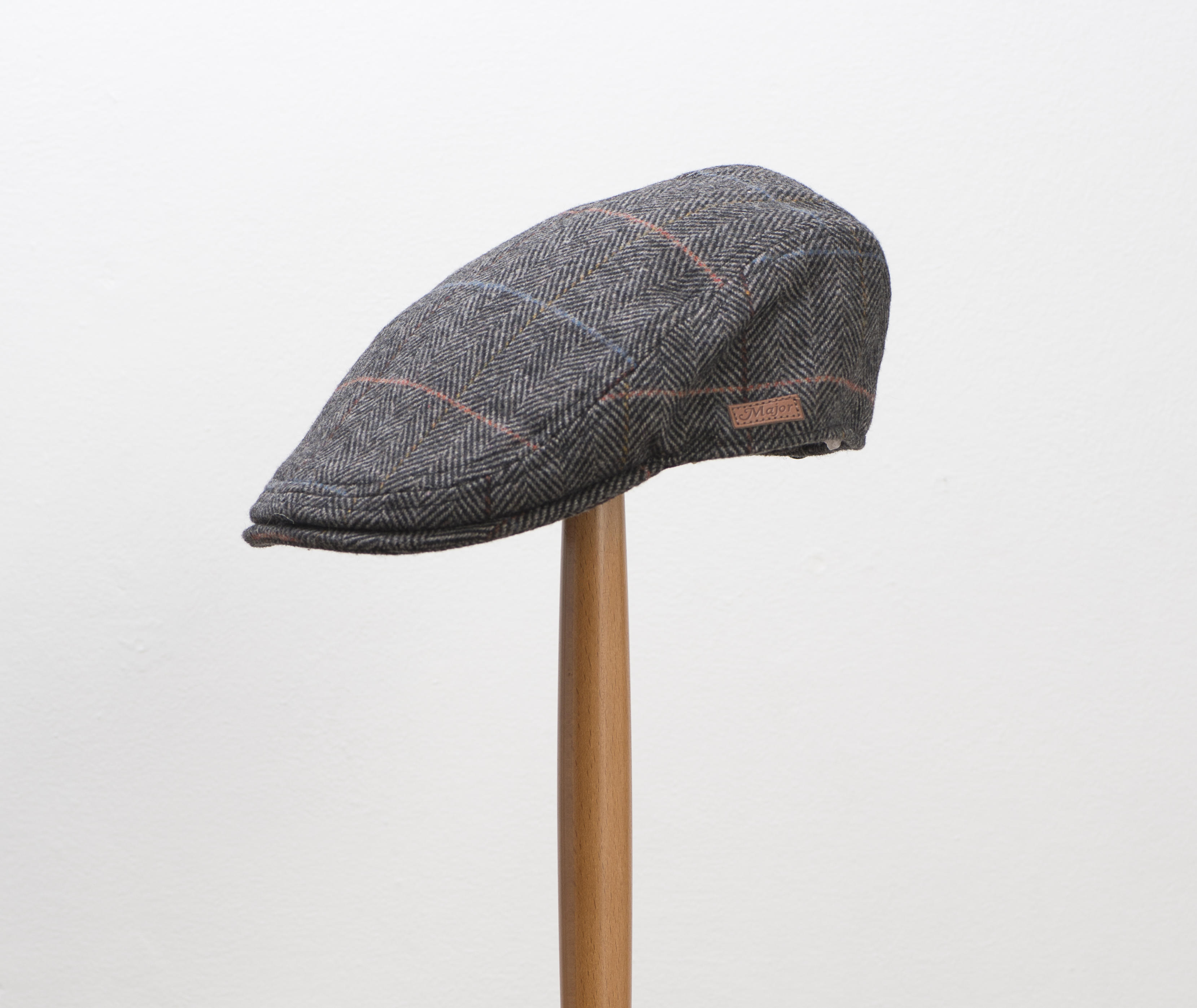 Major Grey Herringbone Check Flat Cap