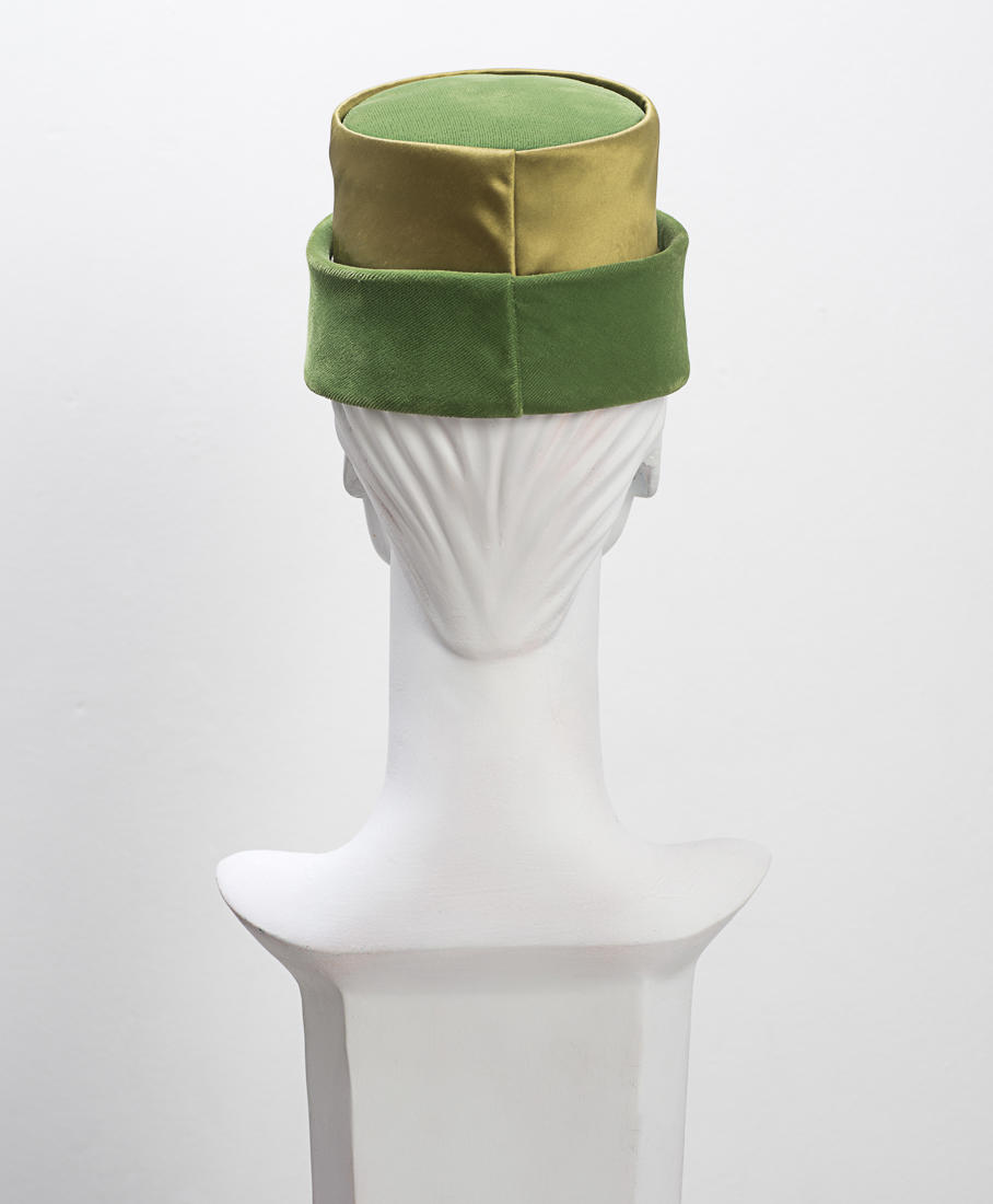 1950's Green Velvet and Satin Hat with Bow Back