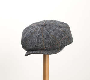 Whiteley Estate Check Tweed Newsboy Cap - Charcoal
