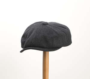 Whiteley Herringbone Tweed Newsboy Cap - Black