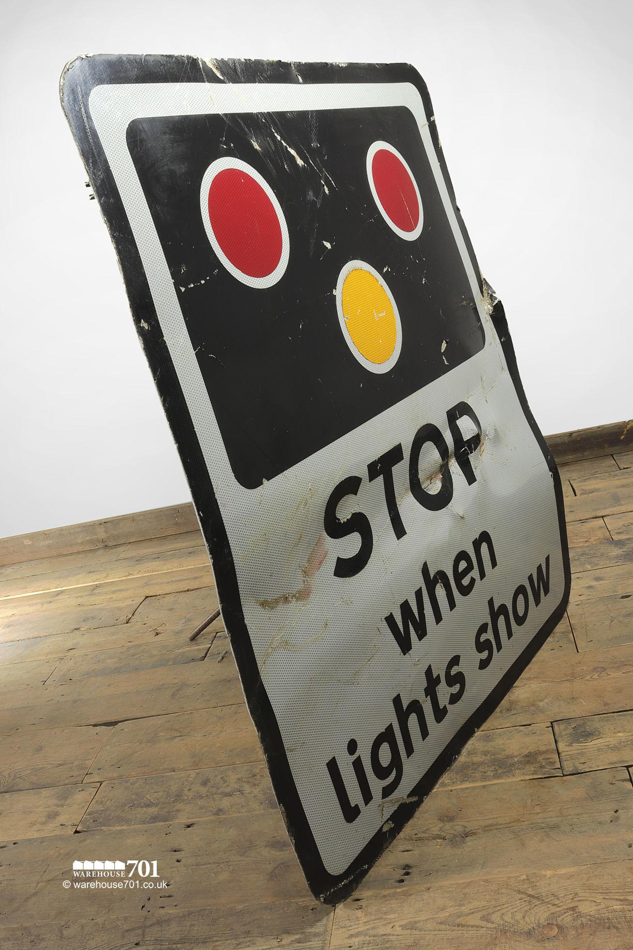 Reclaimed Railway Crossing Warning Sign STOP When Lights Show #4