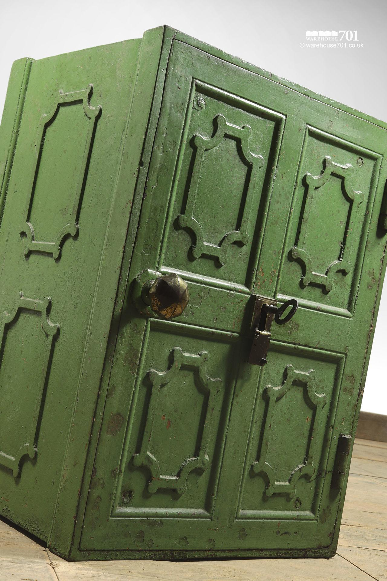 Salvaged Iron Green Painted Safe with Divider, Drawers and Key