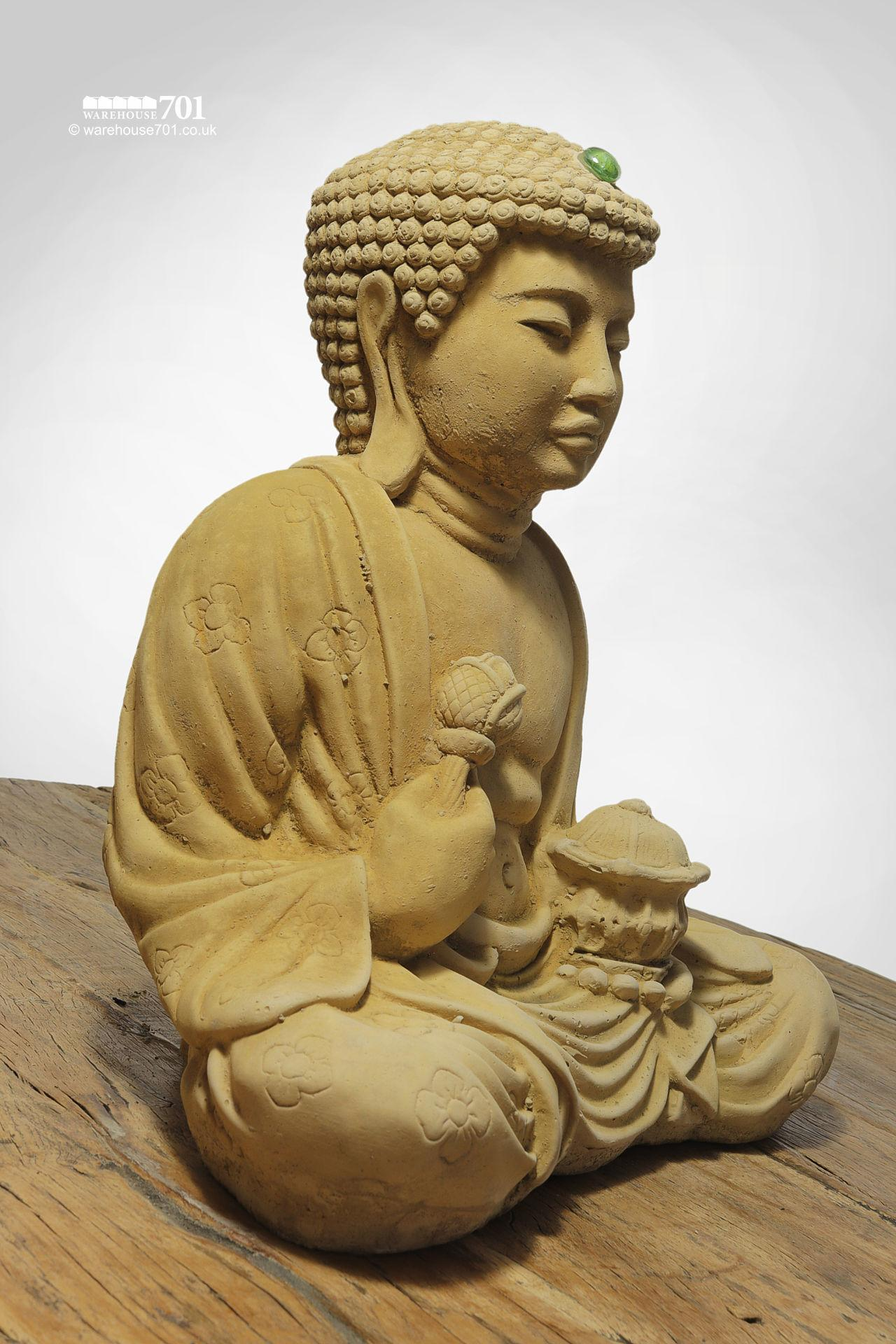 NEW Composite Stone Buddha Garden Statue or Figure with Green Jewel #3