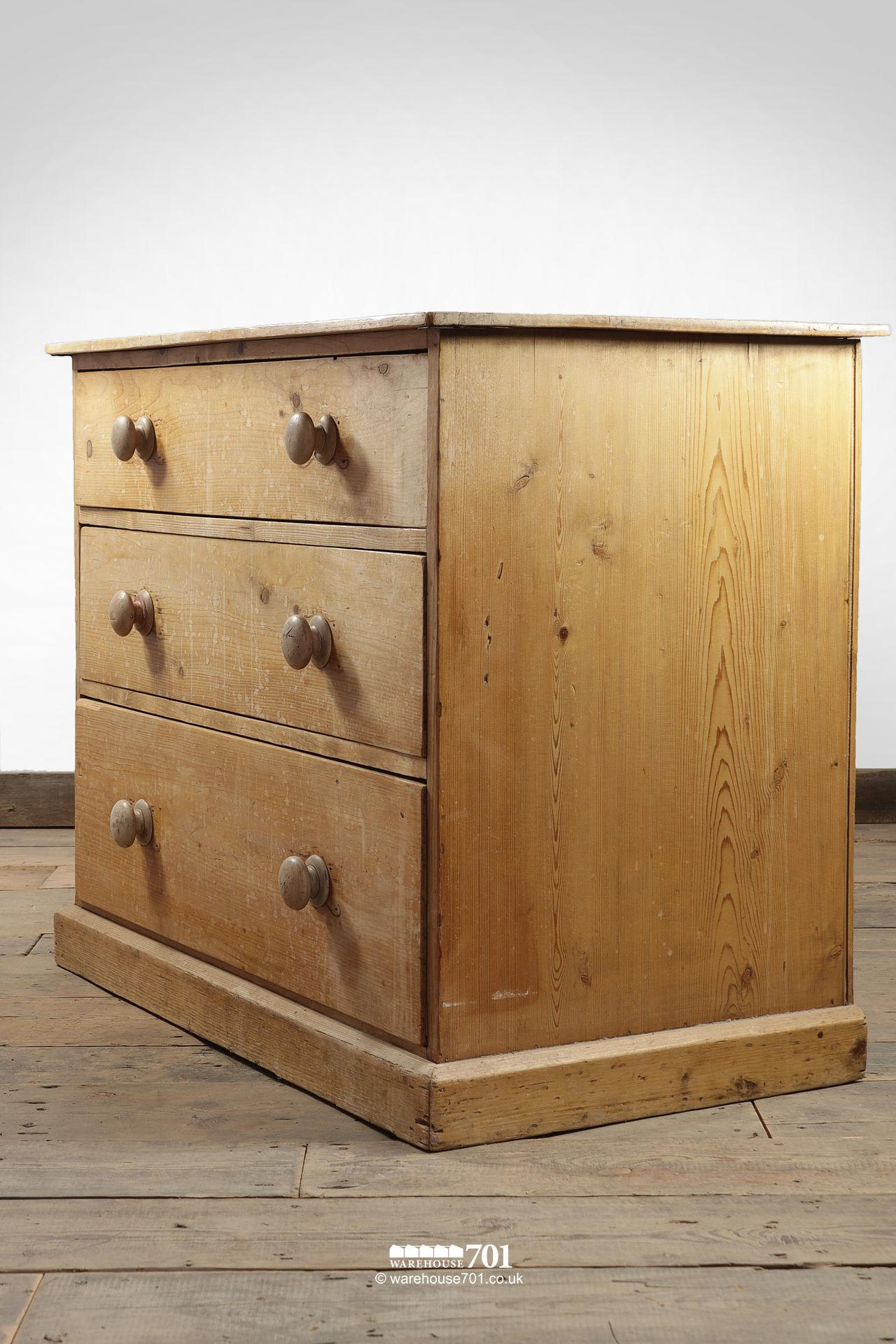 Vintage Three Drawer Stripped Pine Chest of Drawers #2