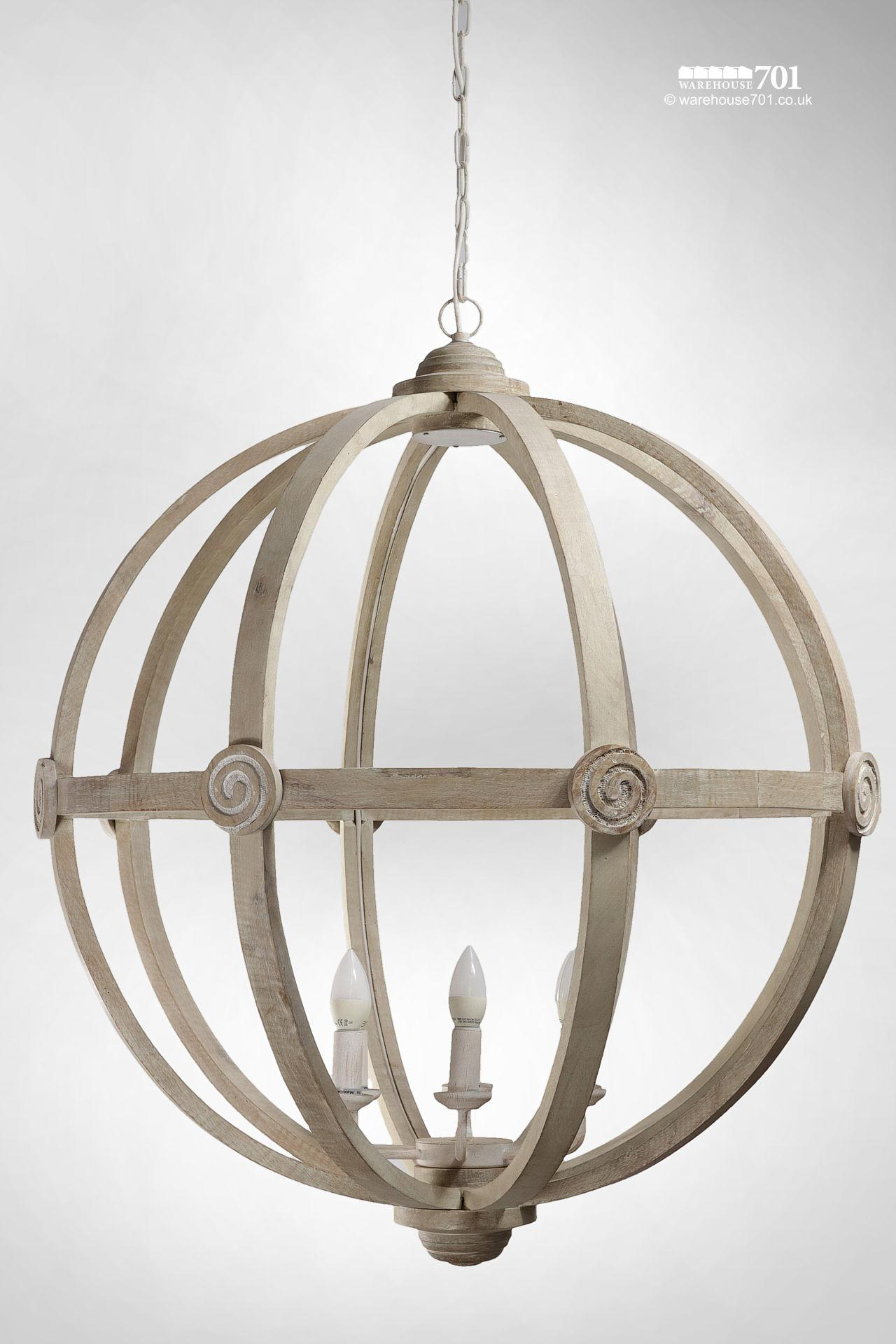 New Large Cream Colour Wood Orb Ceiling Light #3