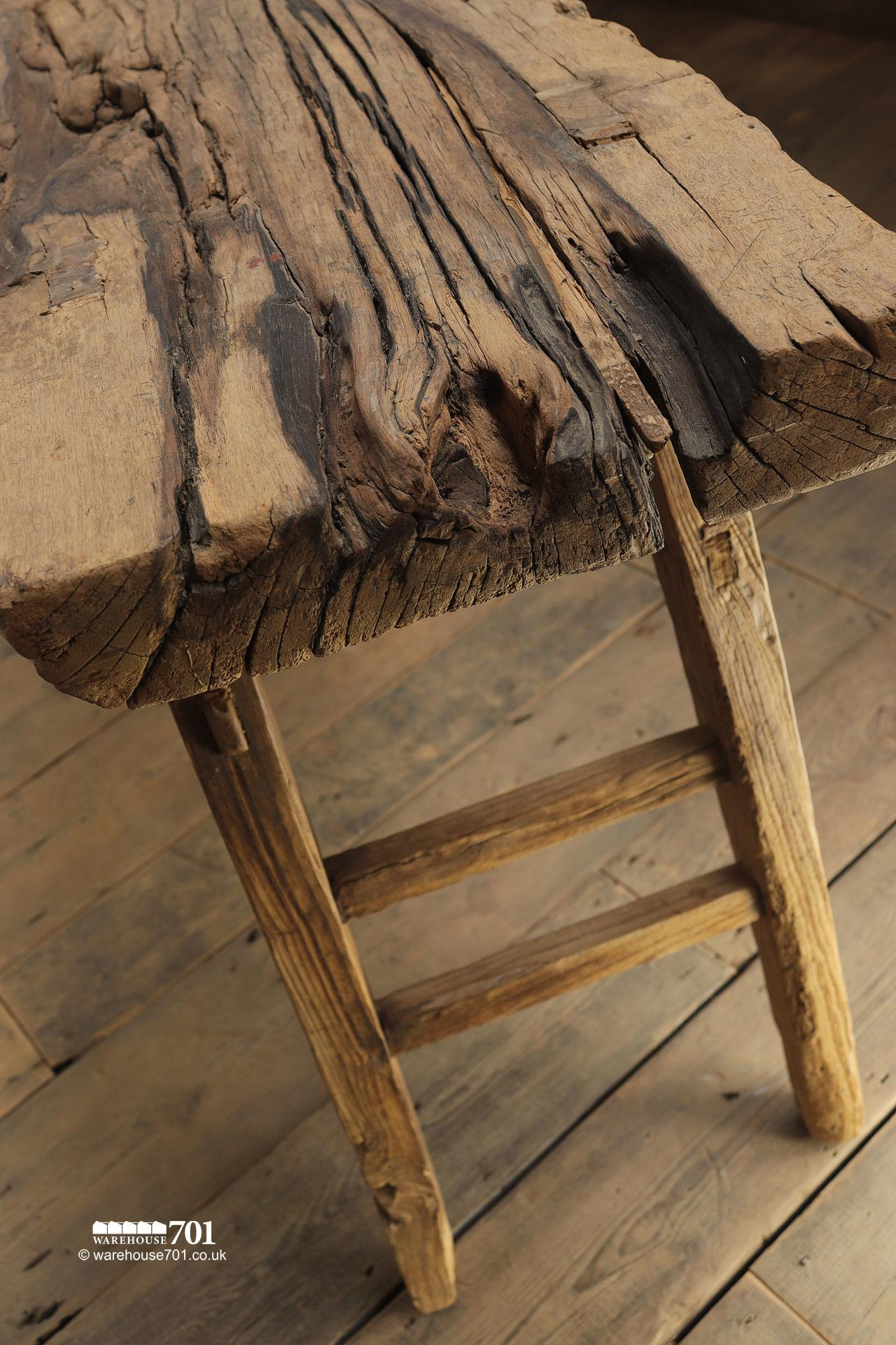 Stunning Reclaimed Elm Light Wood Console Table #7