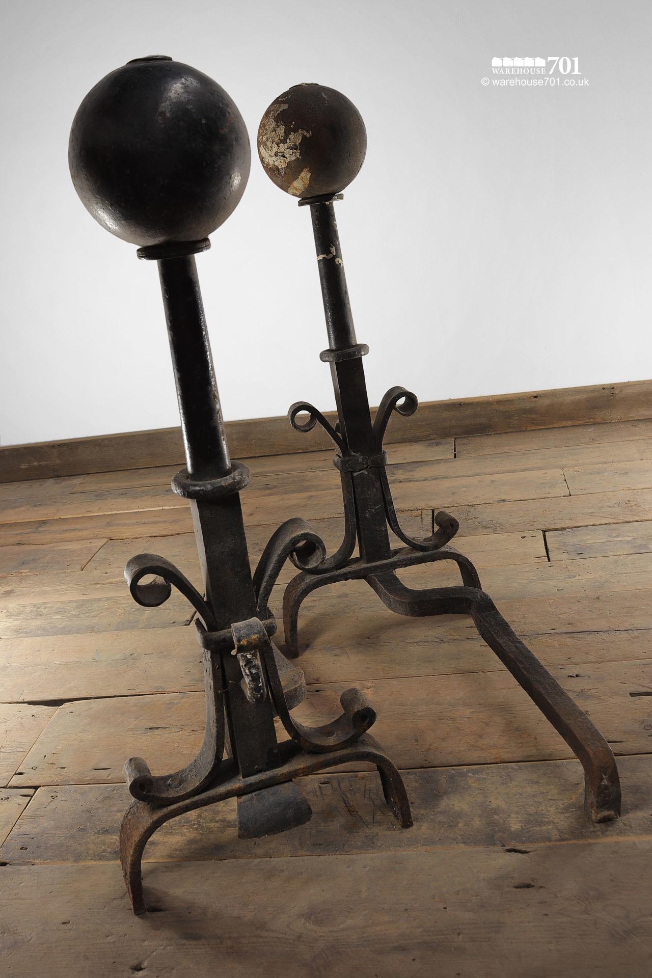 Large Salvaged Pair of Blacksmith Made Andirons / Fire Dogs #5