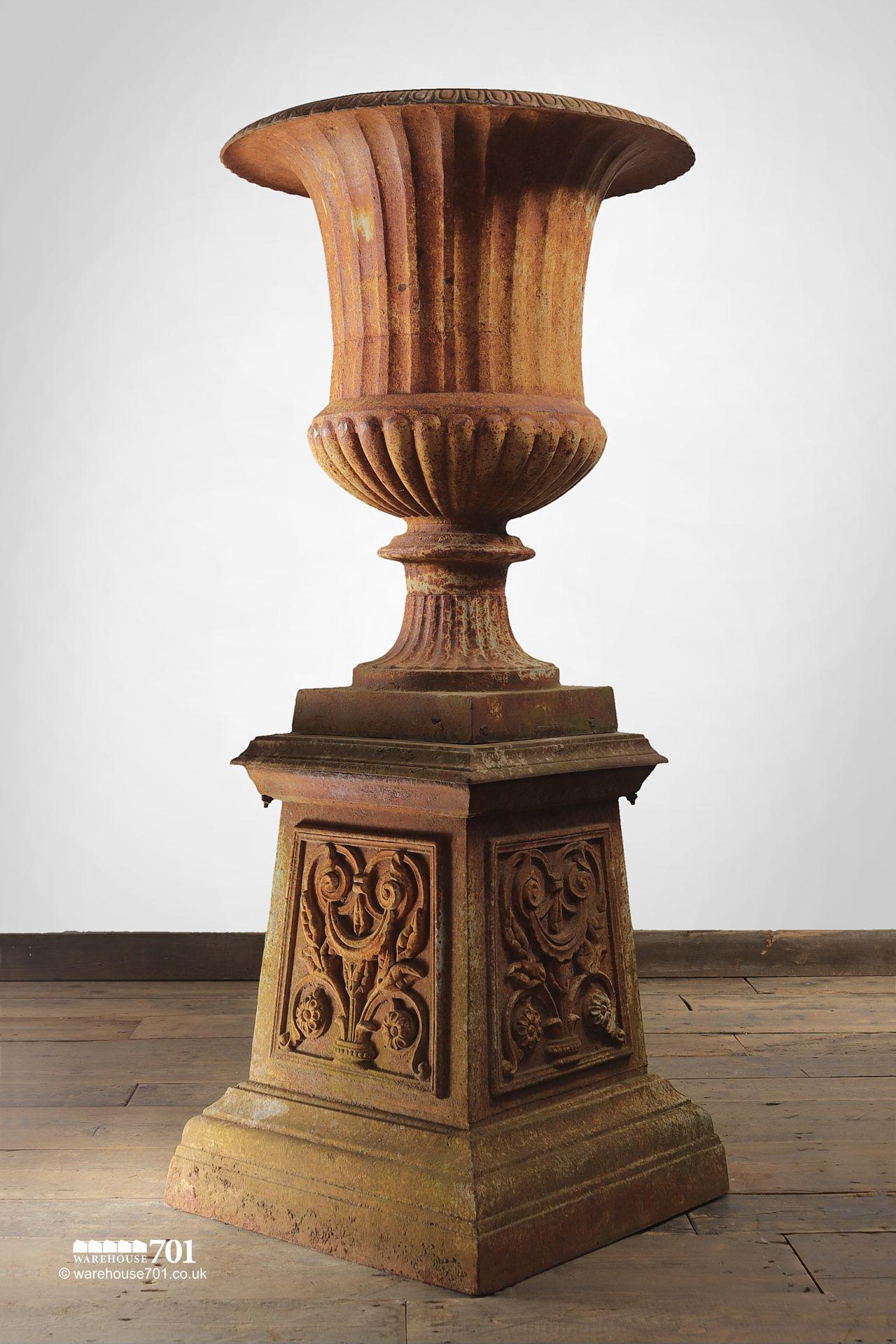 Pair of Aged Cast Iron Urns on Plinths #3