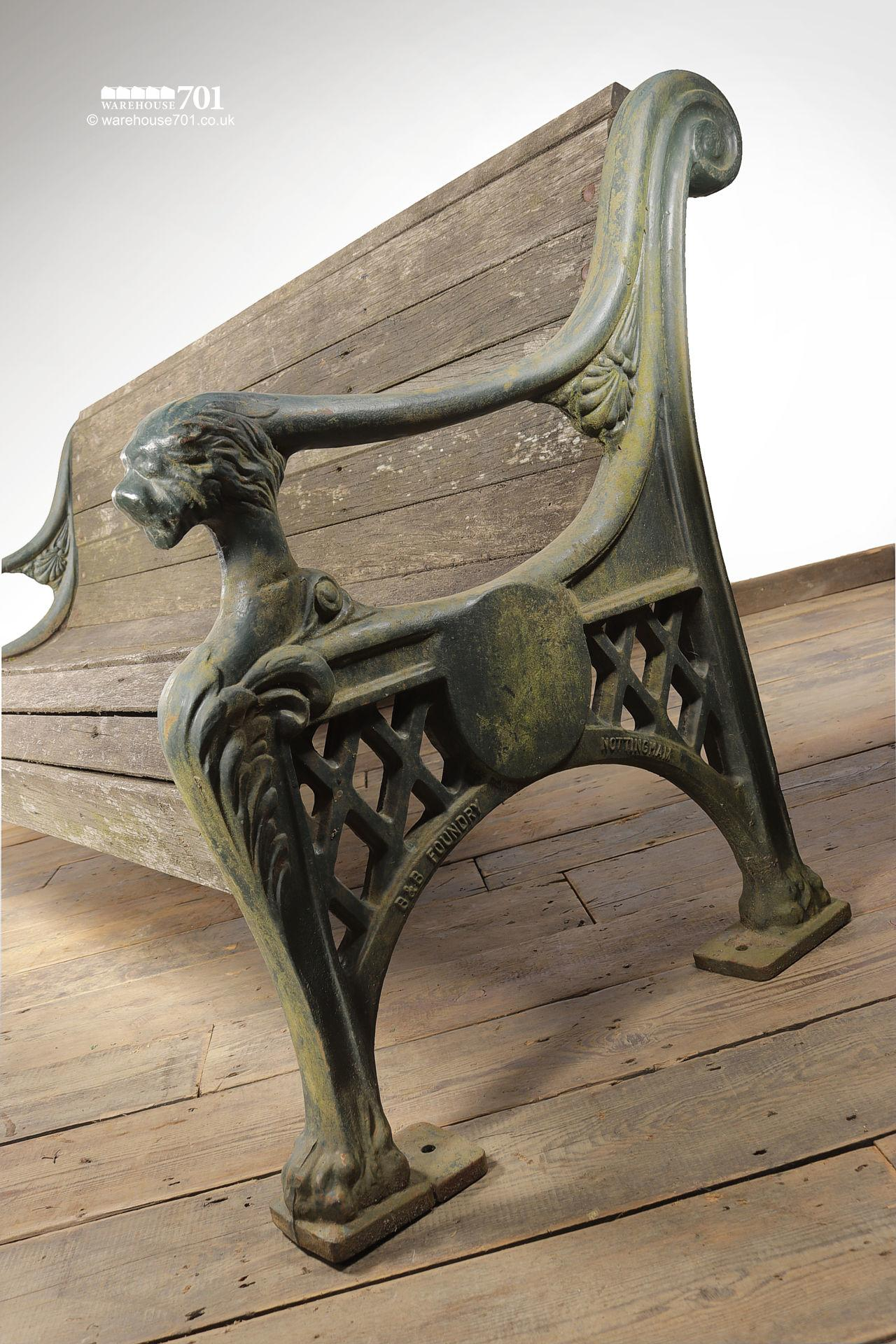 Salvaged Heavy Cast Iron Lion Mask Garden Bench