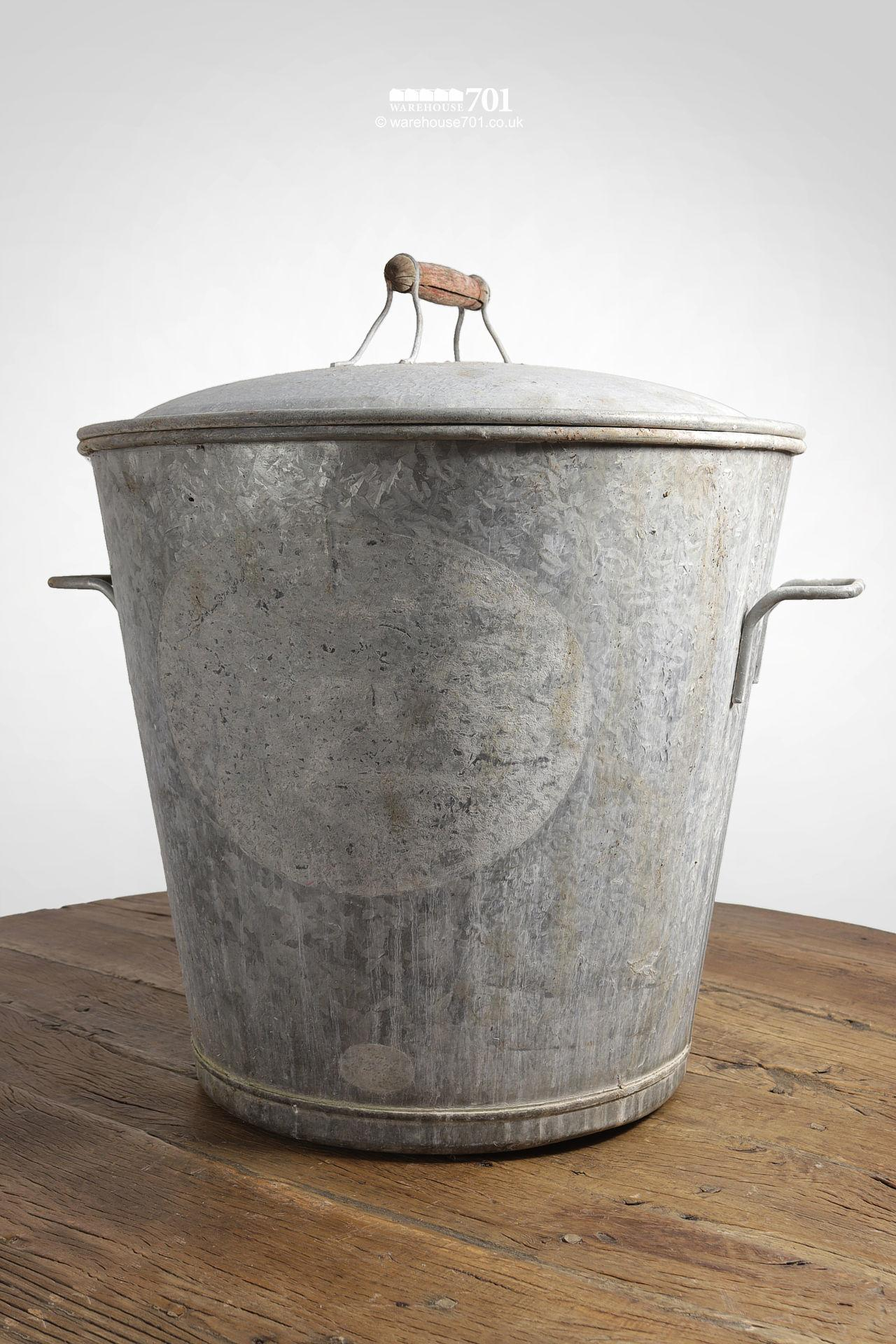 Handsome Vintage Galvanised Bucket with Lid