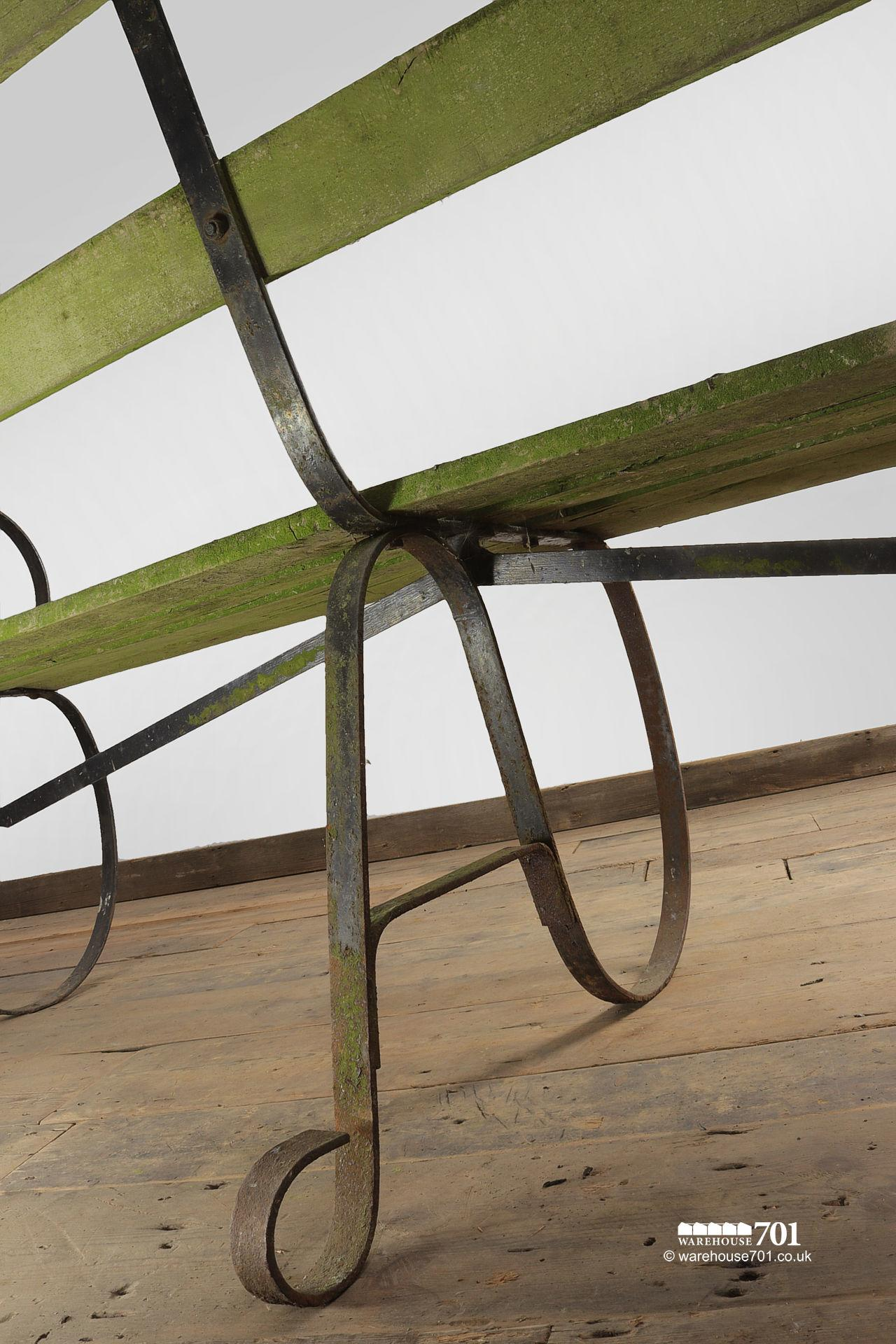 Lovely Old Long Wrought Iron Park or Garden Bench #6