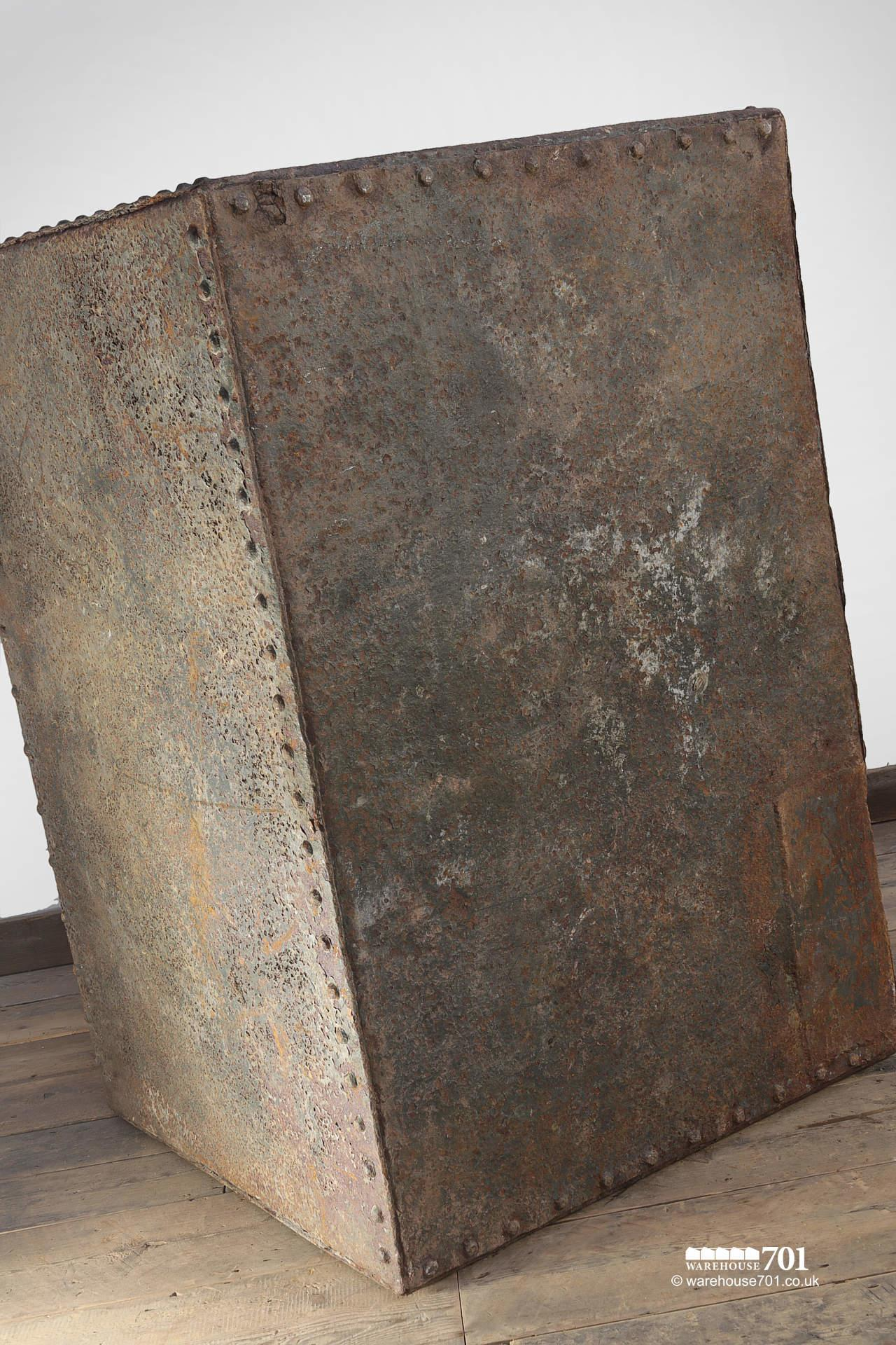 Large Green Reclaimed Riveted Double Feed Bin #7
