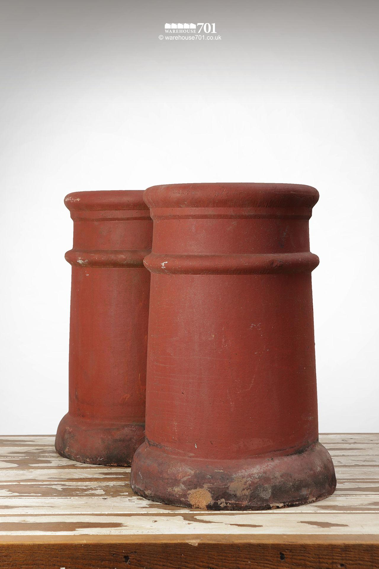 Fine Old Pair of Ribbed Red Terracotta Chimney Pots