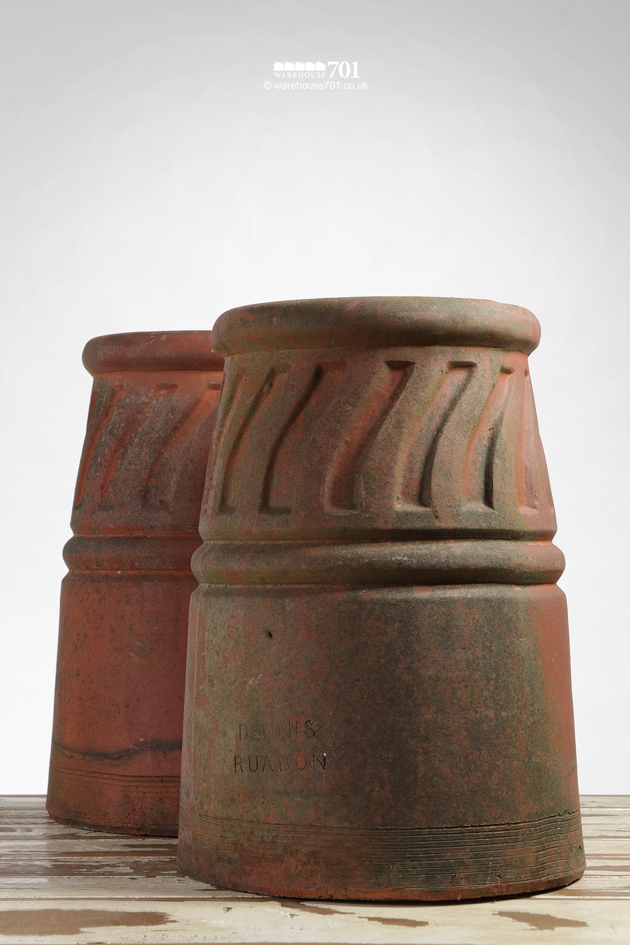 Pair of Reclaimed Red Clay Dennis Ruabon Chimney Pots