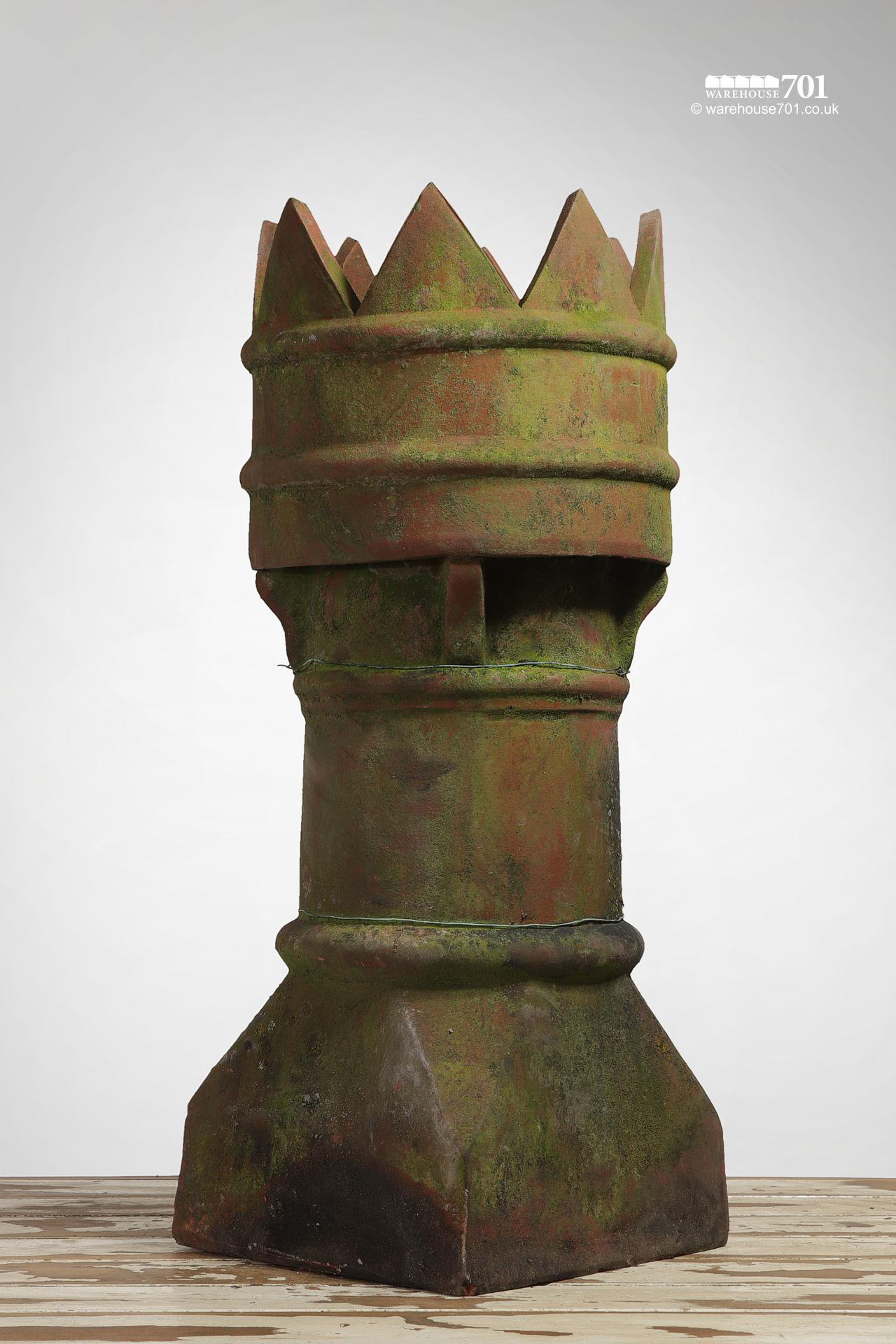 Salvaged Red Clay Terracotta Bishop Style Vented Chimney Pot #2