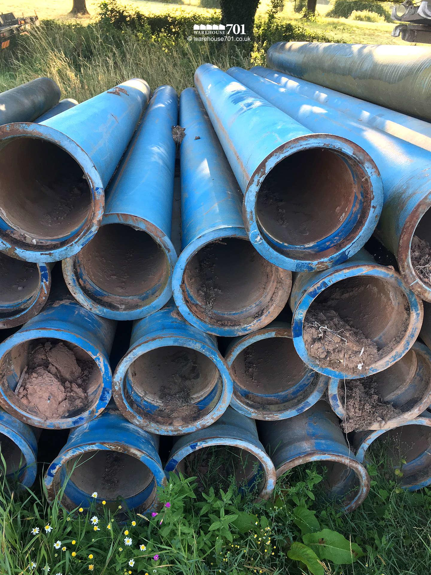 Salvaged 6 Metre Lengths of Blue Cast Iron Interlocking Pipe