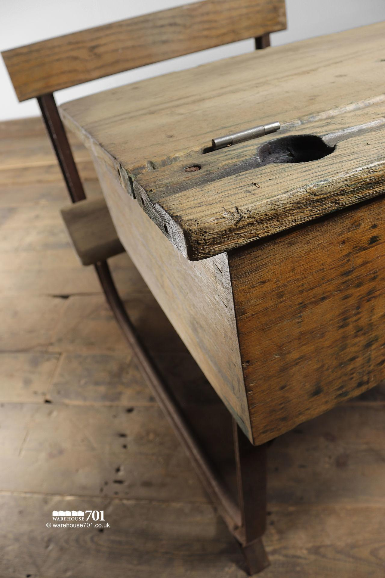 Reclaimed Wooden Childs School Desk and Seat #3