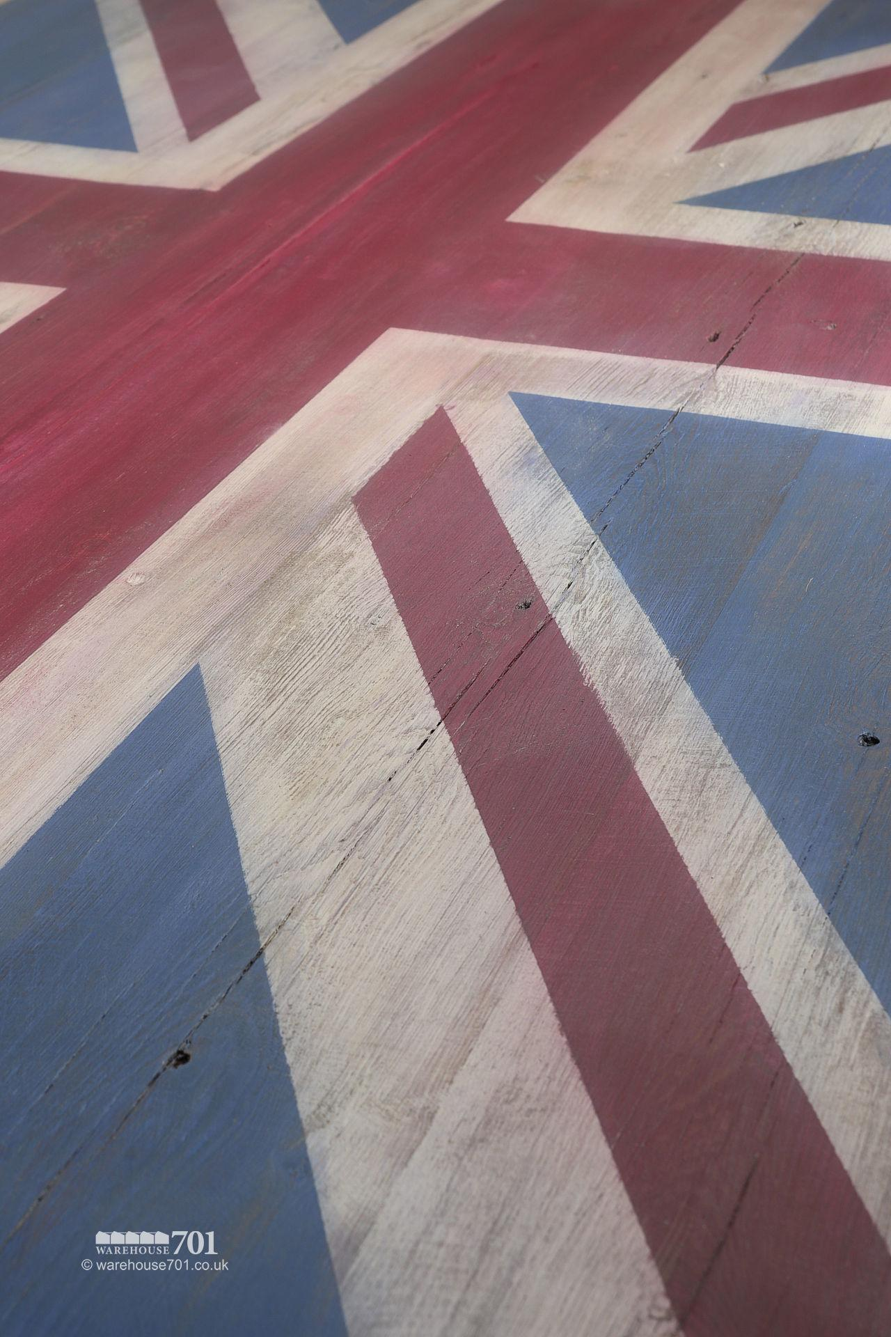 Reclaimed Cast Iron base Union Jack Wooden Table