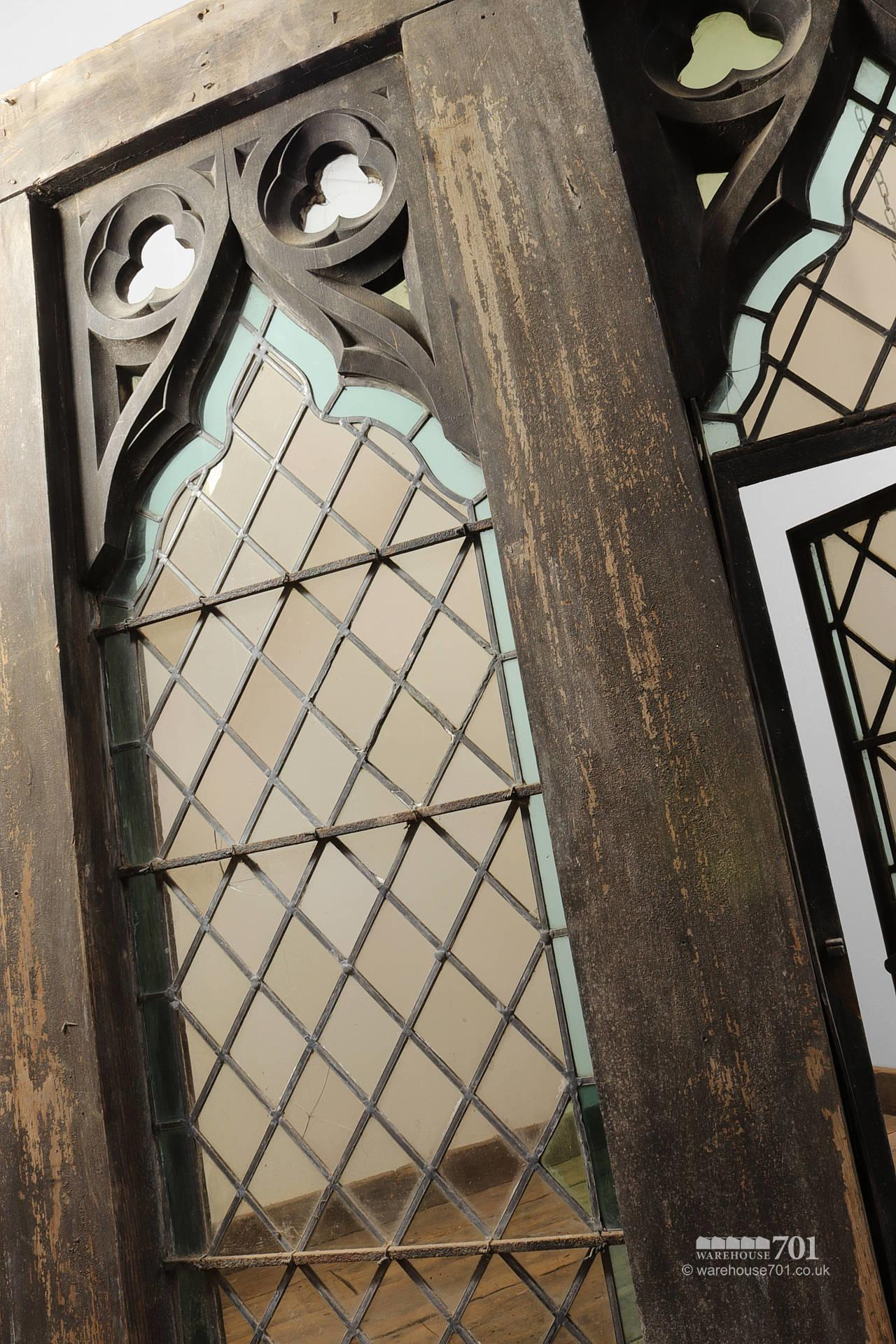 Impressive Pair of Gothic Style Oak and Leaded Glass Windows #4