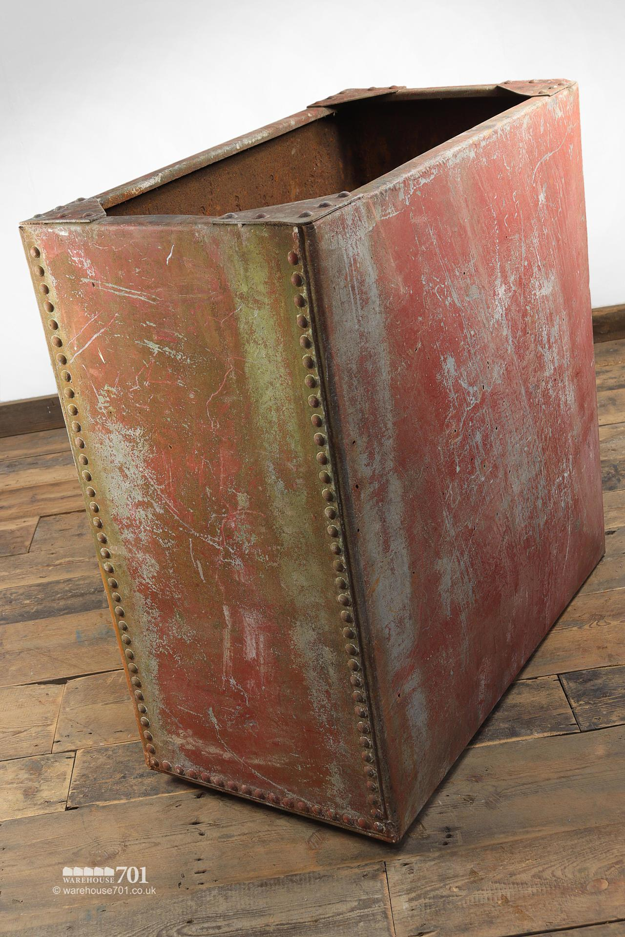 Old Salvaged Galvanised Riveted Red Water Tank #3