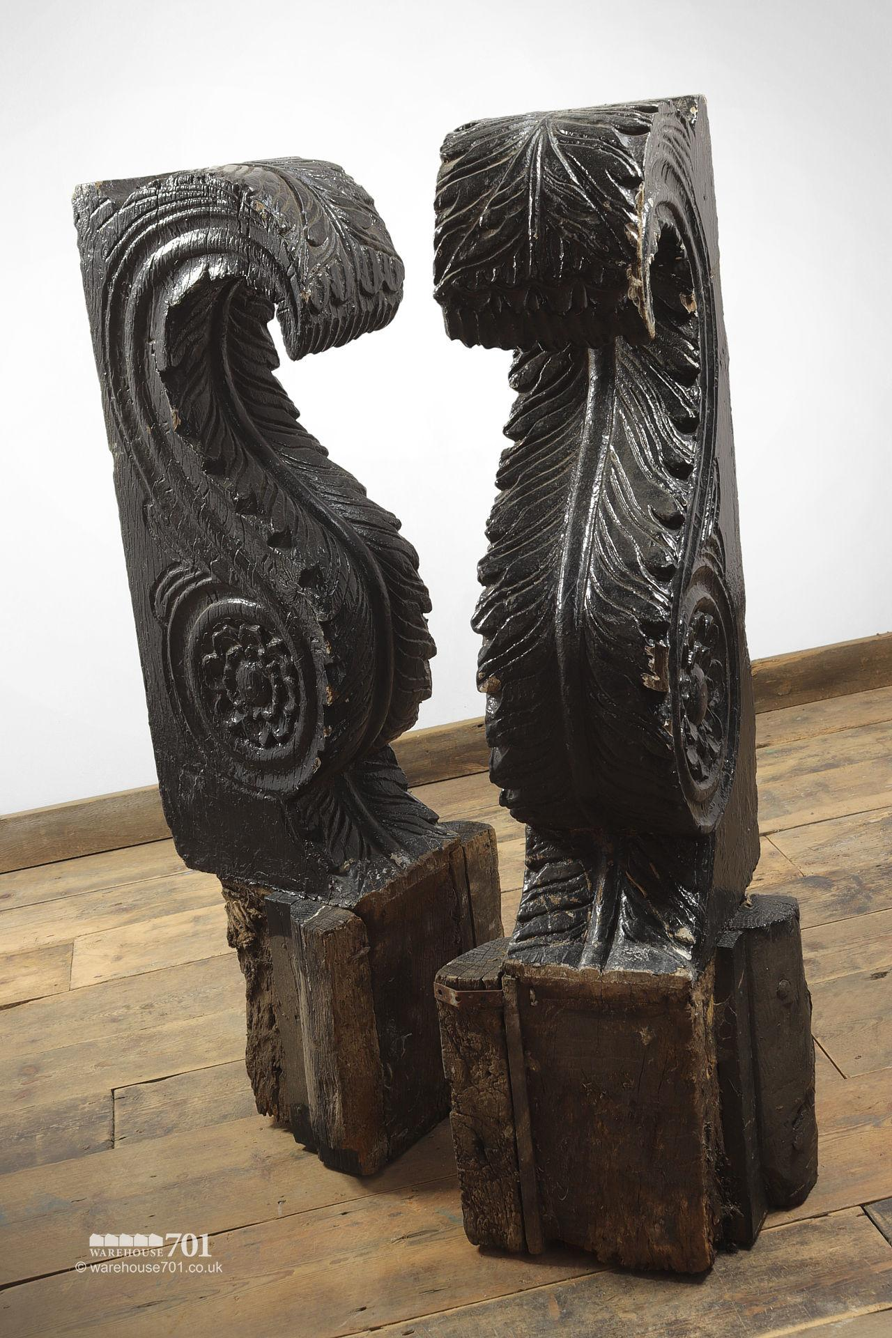 Pair of Huge Old Salvaged Hand Carved Oak Corbels