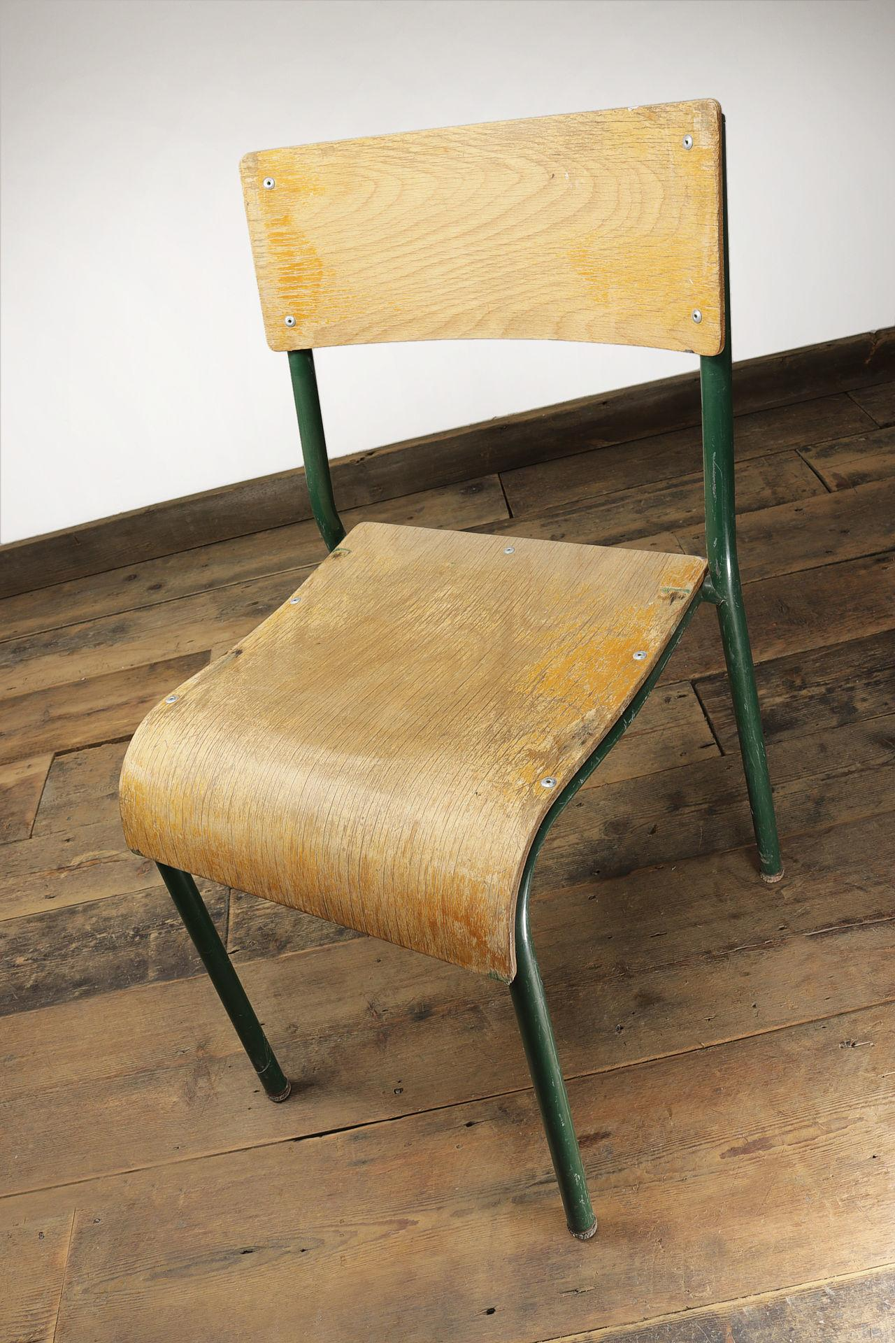 Old Green Tubular Steel and Ply Stacking Chairs #3