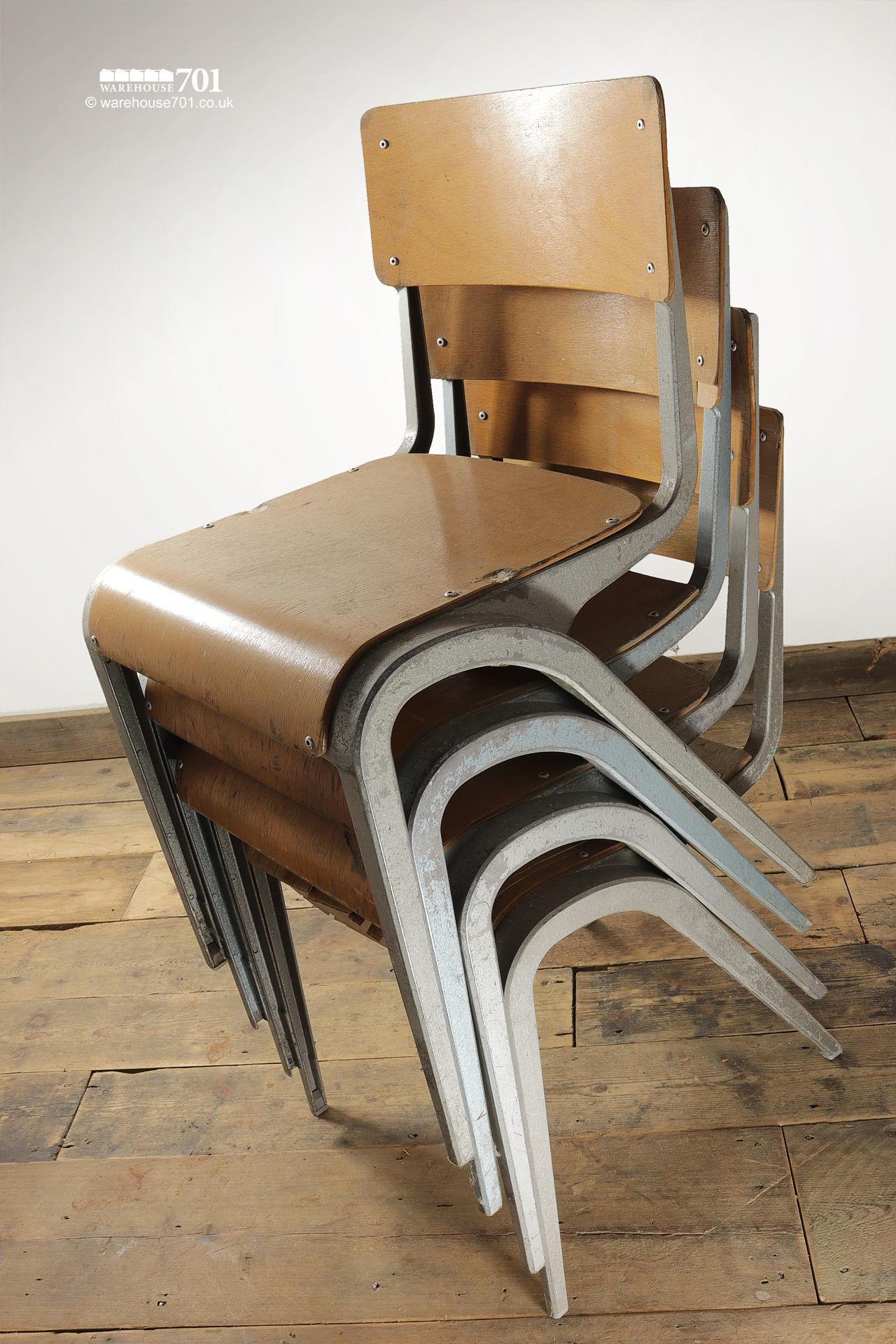 Vintage 1950s Esavian Alloy & Ply Stacking Chairs #2