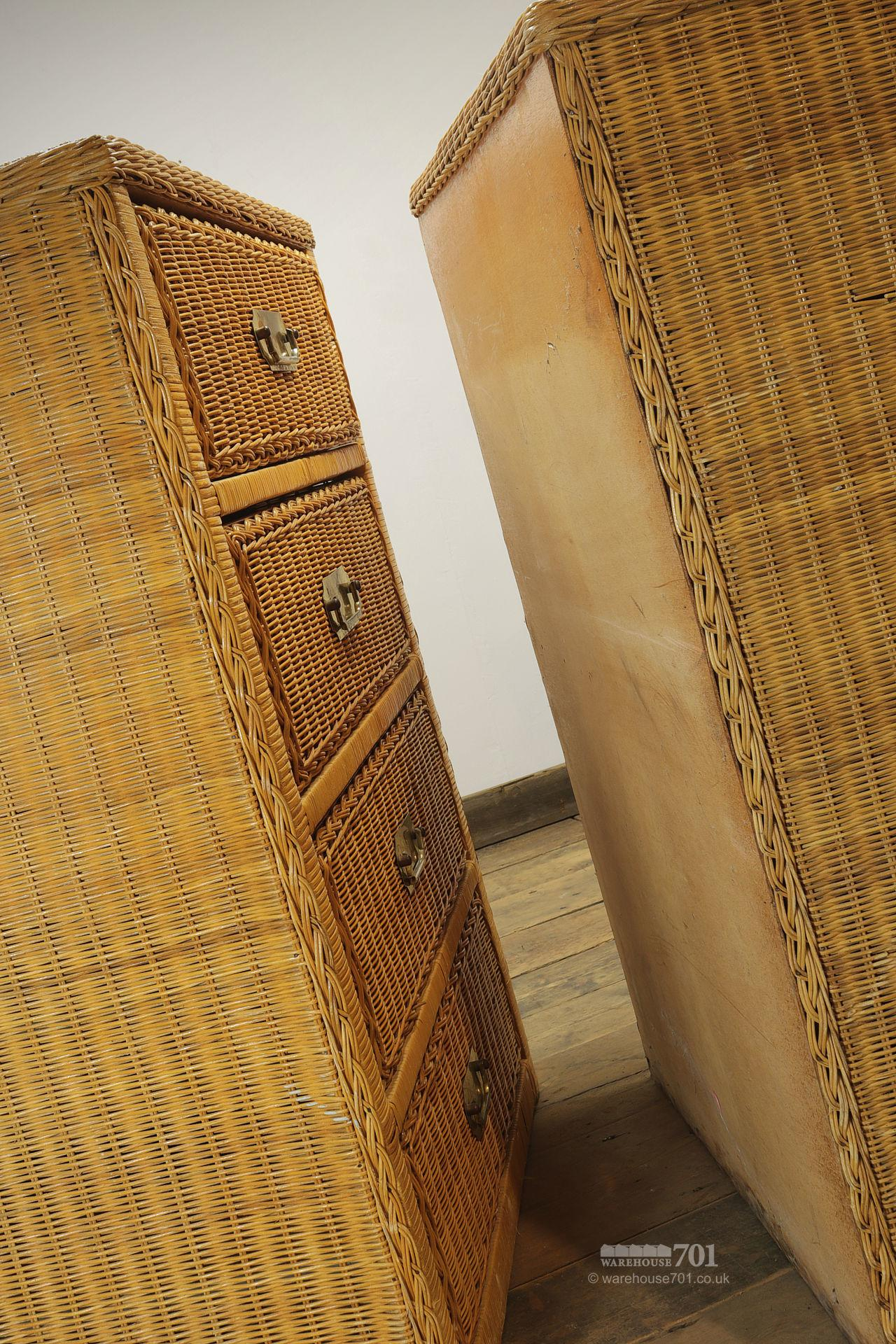 Pair of Vintage Style Wicker Chest of Drawers #6